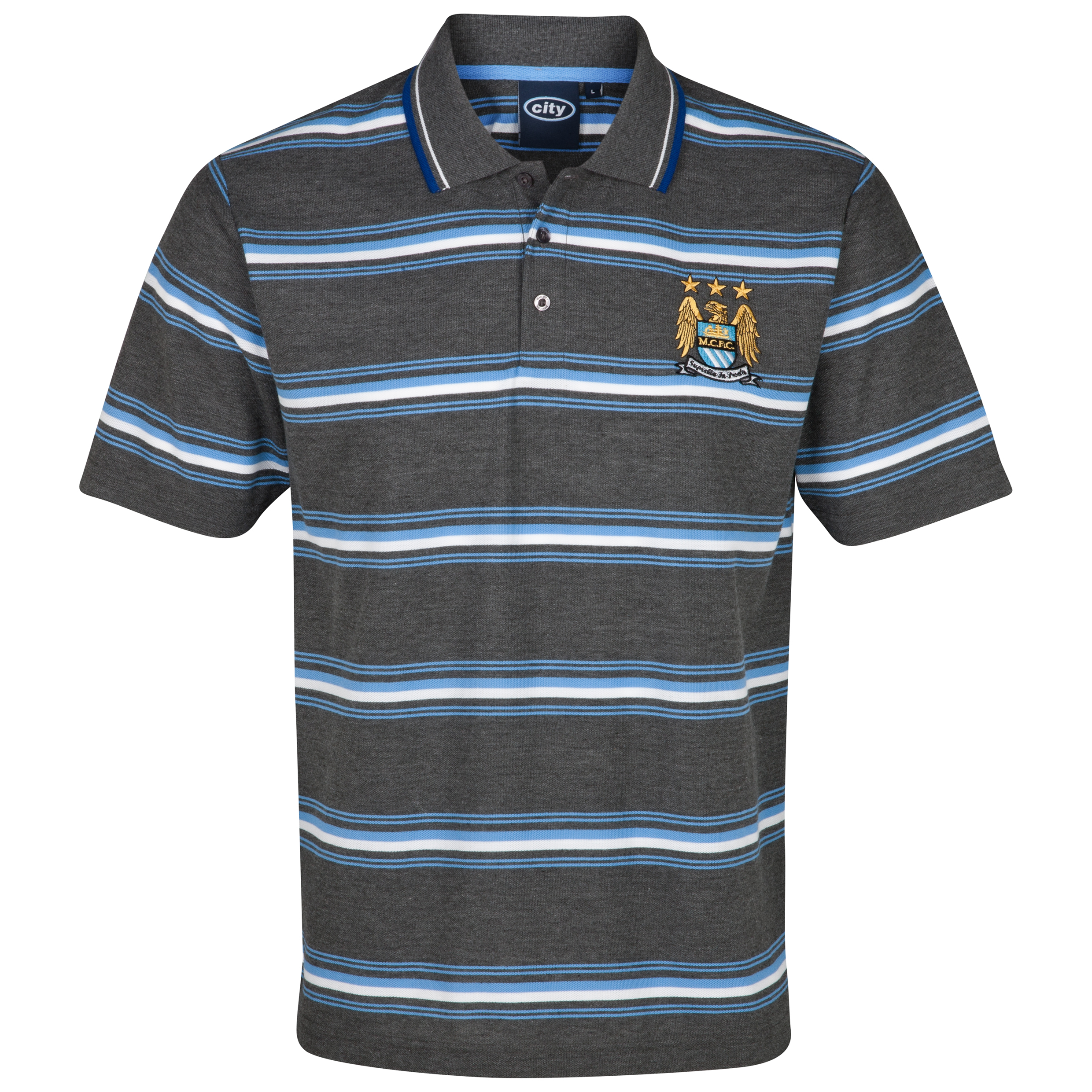 Manchester City Essential Power Stripe Polo Top - Charcoal Marl