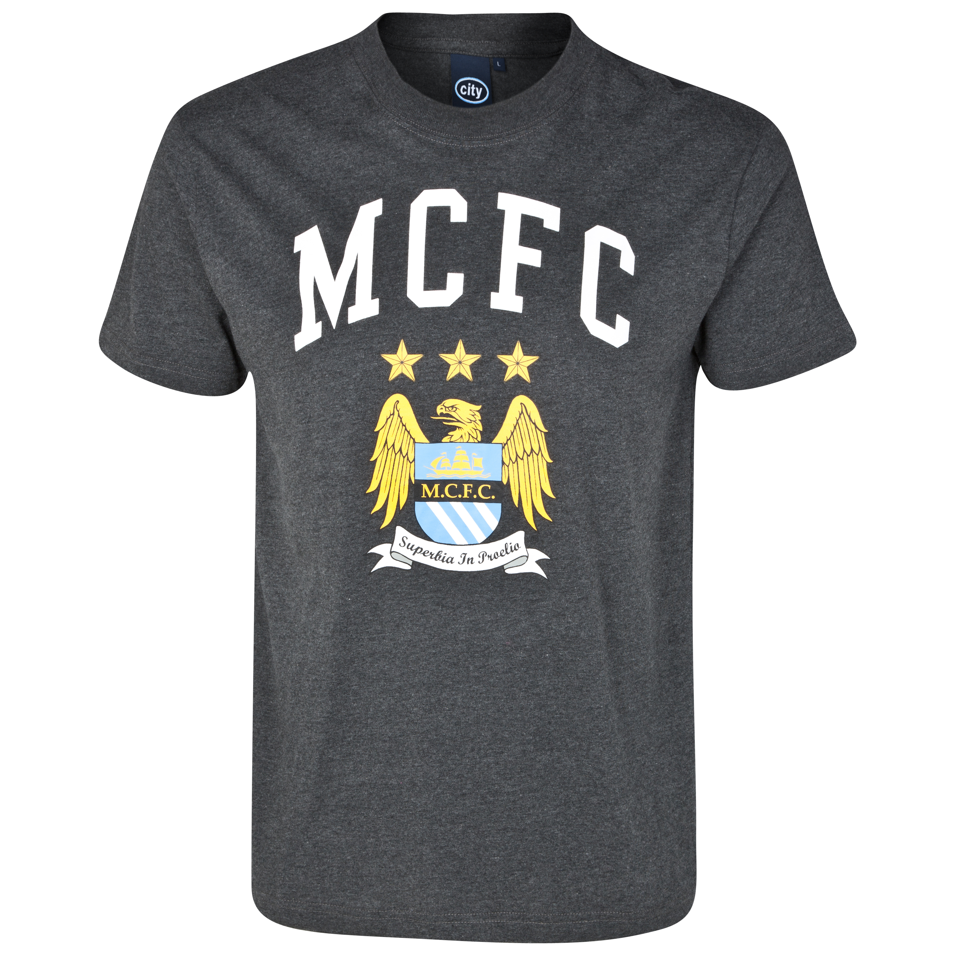 Manchester City Essential Firelit Graphic T-Shirt - Charcoal Marl - Older Boys