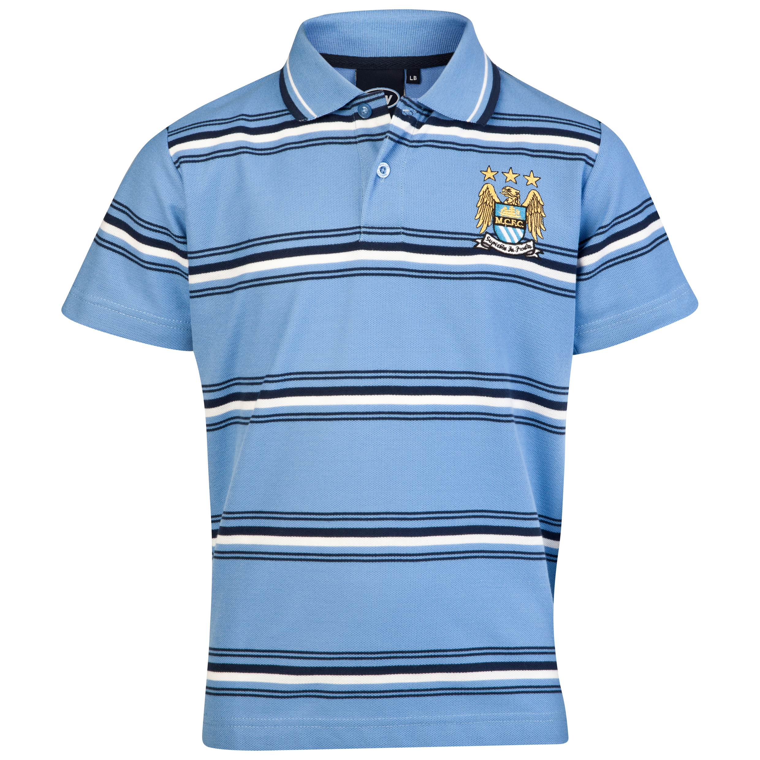 Manchester City Essential Power Stripe Polo Top - Sky - Older Boys