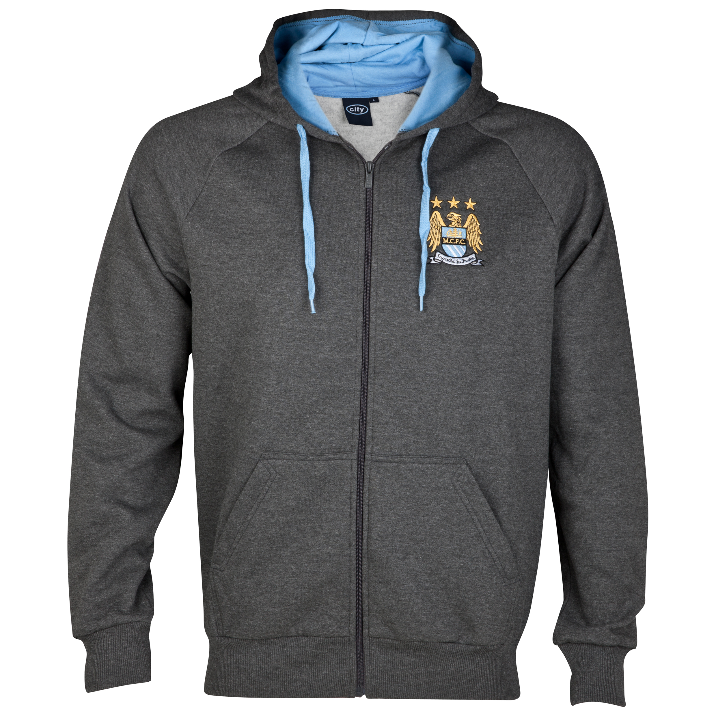 Manchester City Essential Trigon Zip Through Hoodie - Charcoal - Infant Boys
