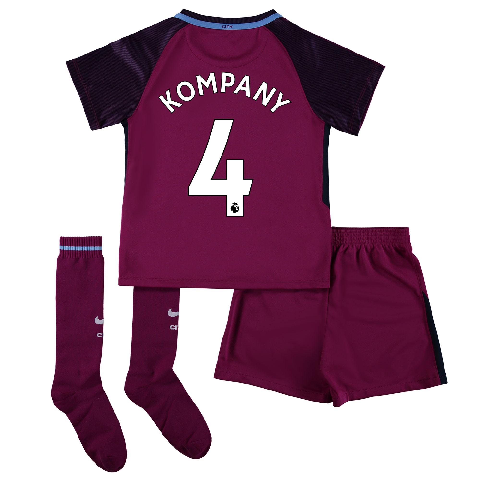 Manchester City Away Stadium Kit 2017-18 - Little Kids with Kompany 4