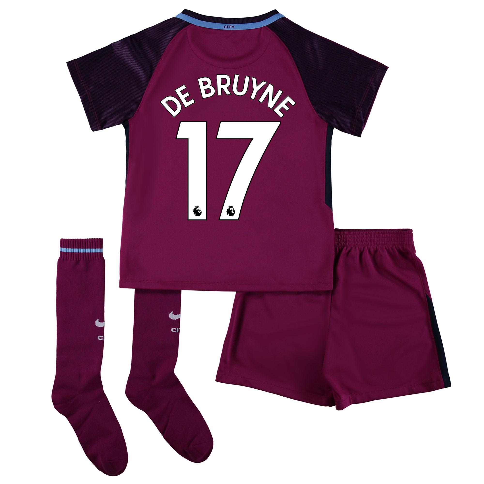Manchester City Away Stadium Kit 2017-18 - Little Kids with De Bruyne