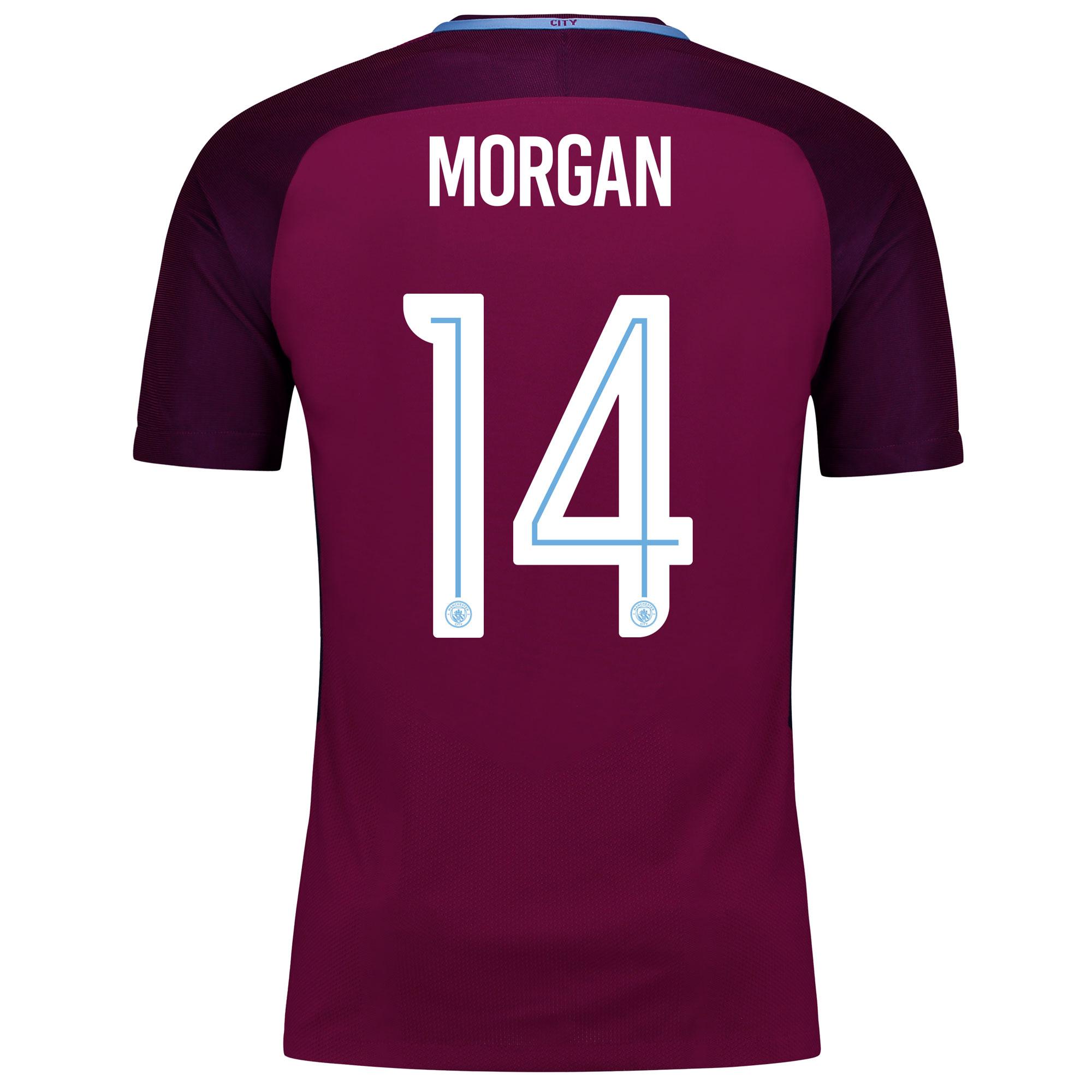 Manchester City Away Vapor Match Cup Shirt 2017-18 with Morgan 14 prin
