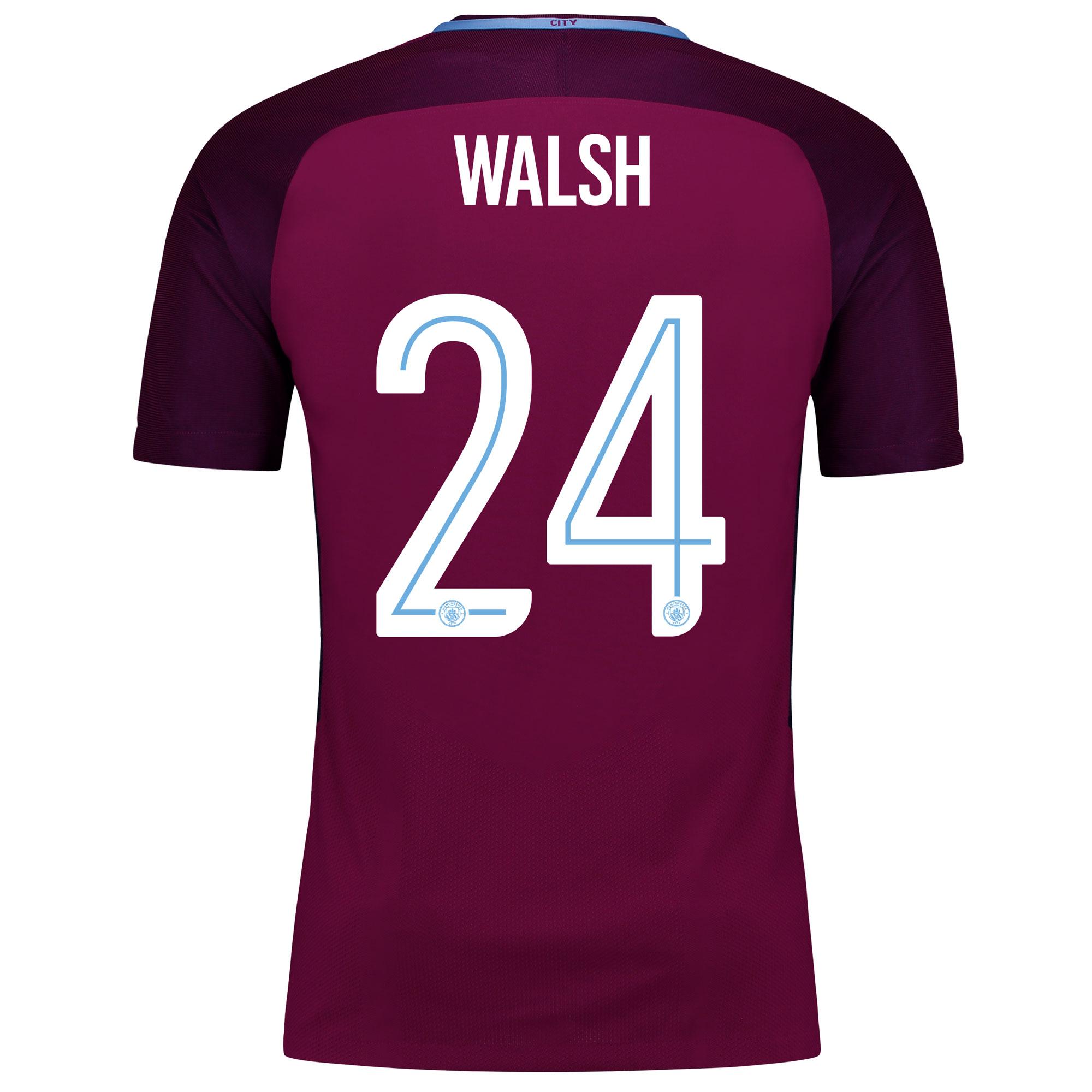 Manchester City Away Vapor Match Cup Shirt 2017-18 with Walsh 24 print
