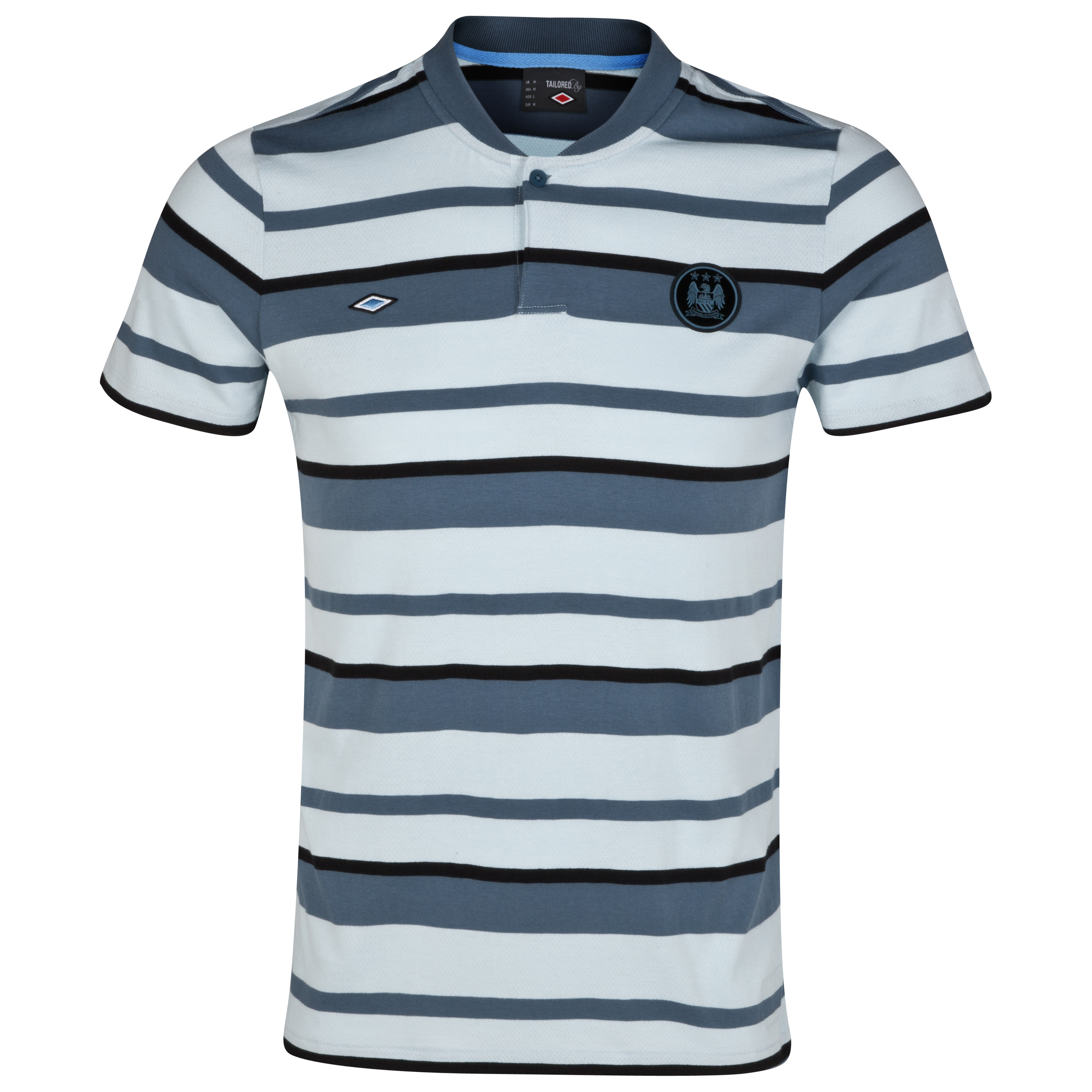 Manchester City Yarn Dye Stripe Polo - Baby Blue/Blue/Black