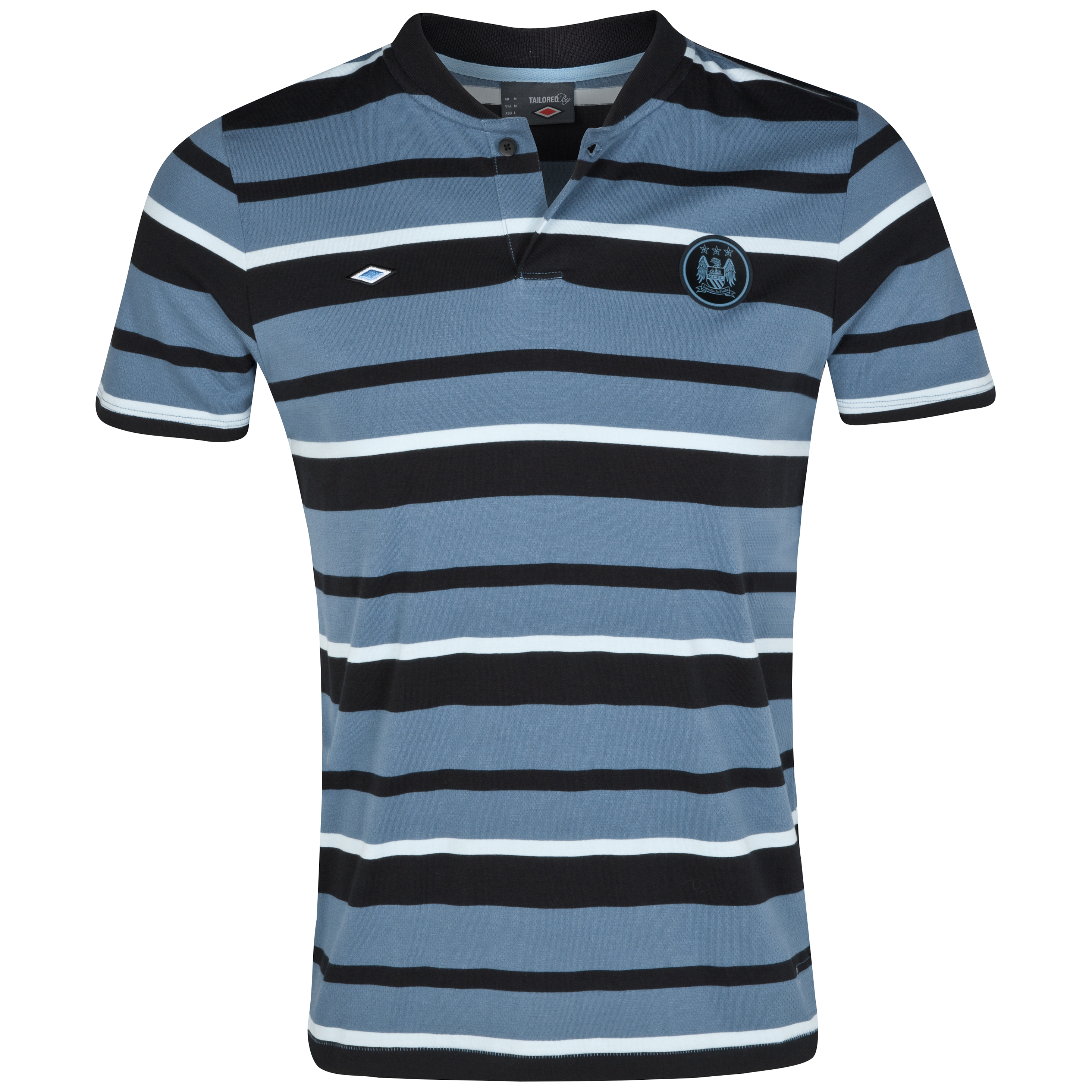 Manchester City Yarn Dye Stripe Polo - Black/China Blue/BabyBlue