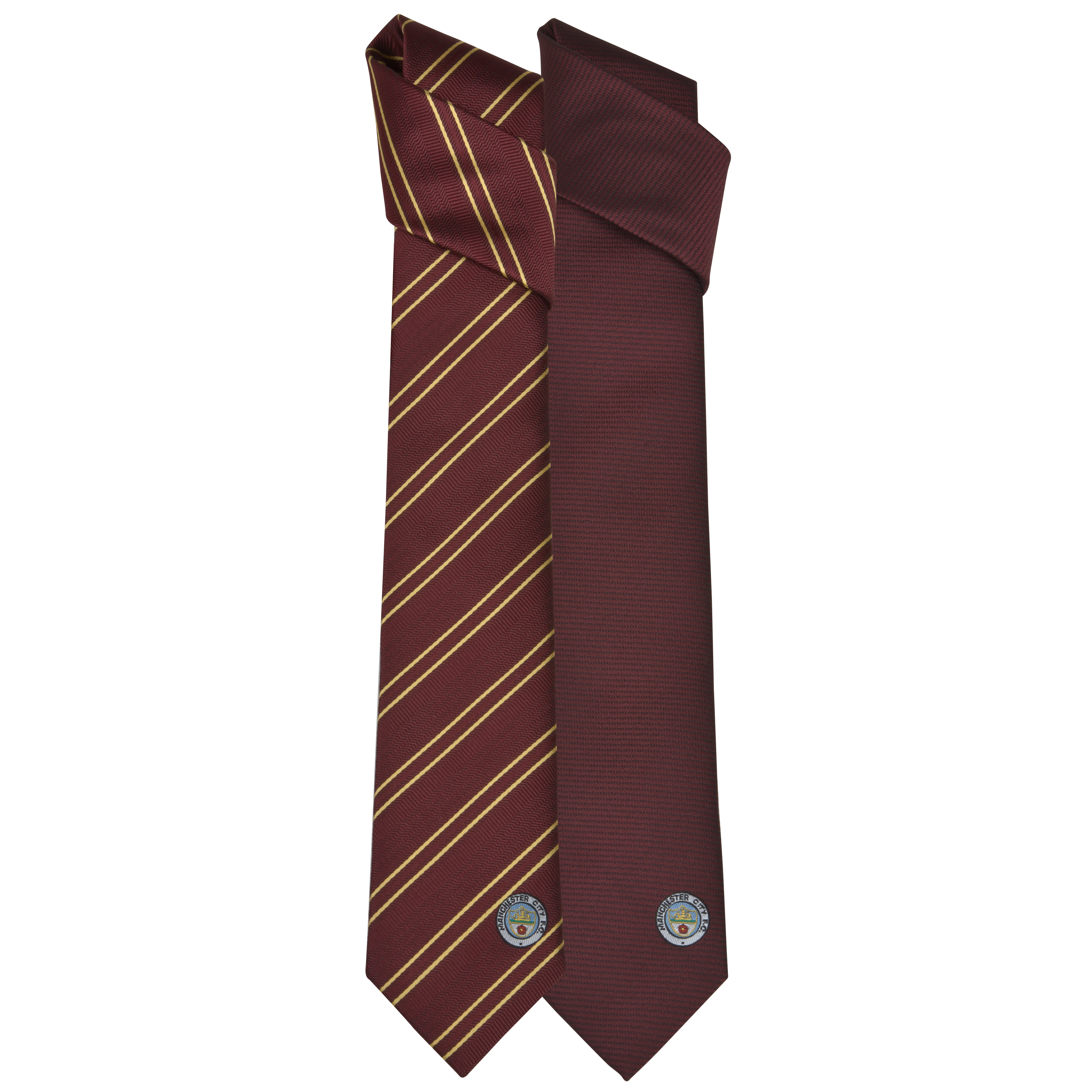 Manchester City 2 Pack of Retro Polyester Ties