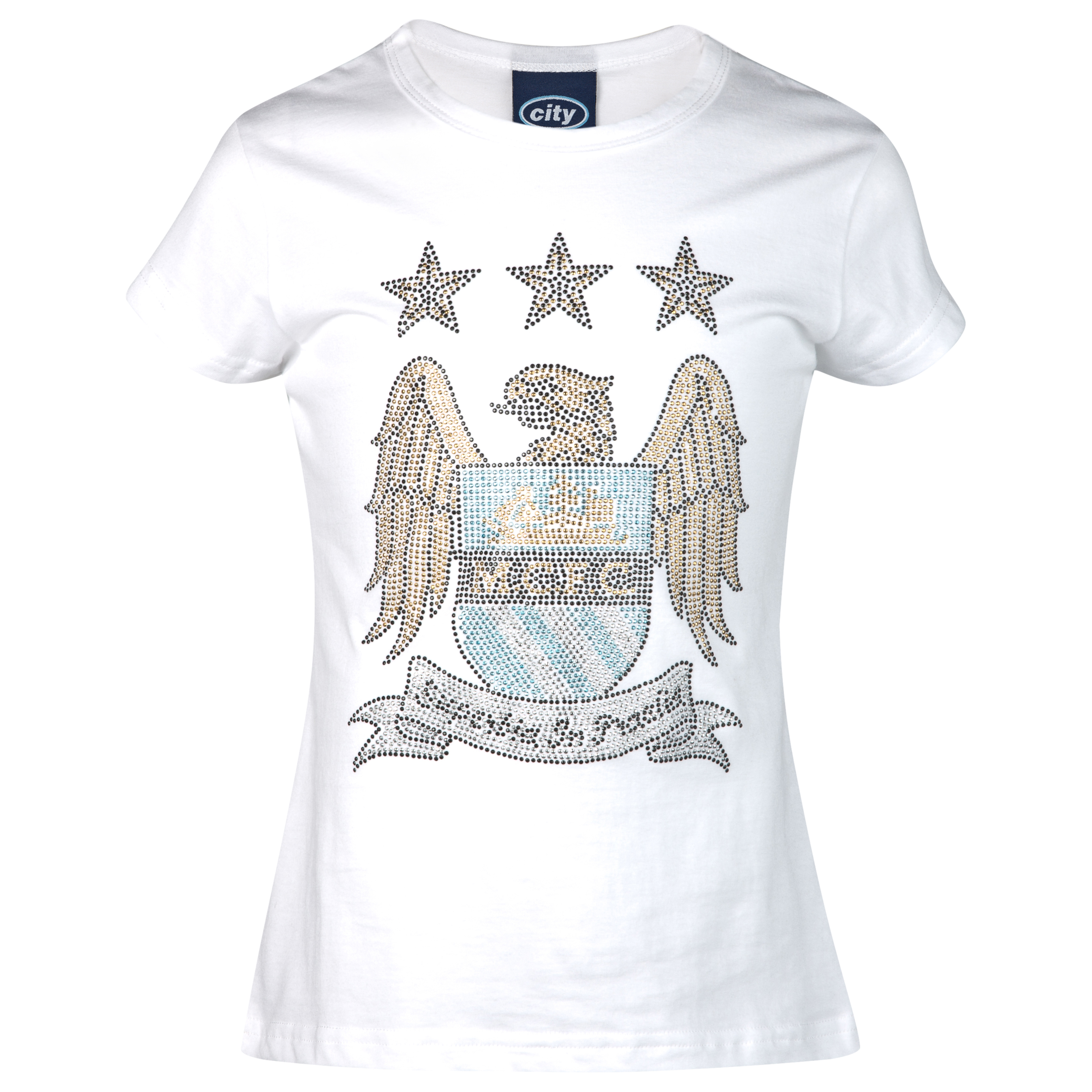 Manchester City Rhinestone T-Shirt - White - Older Girls