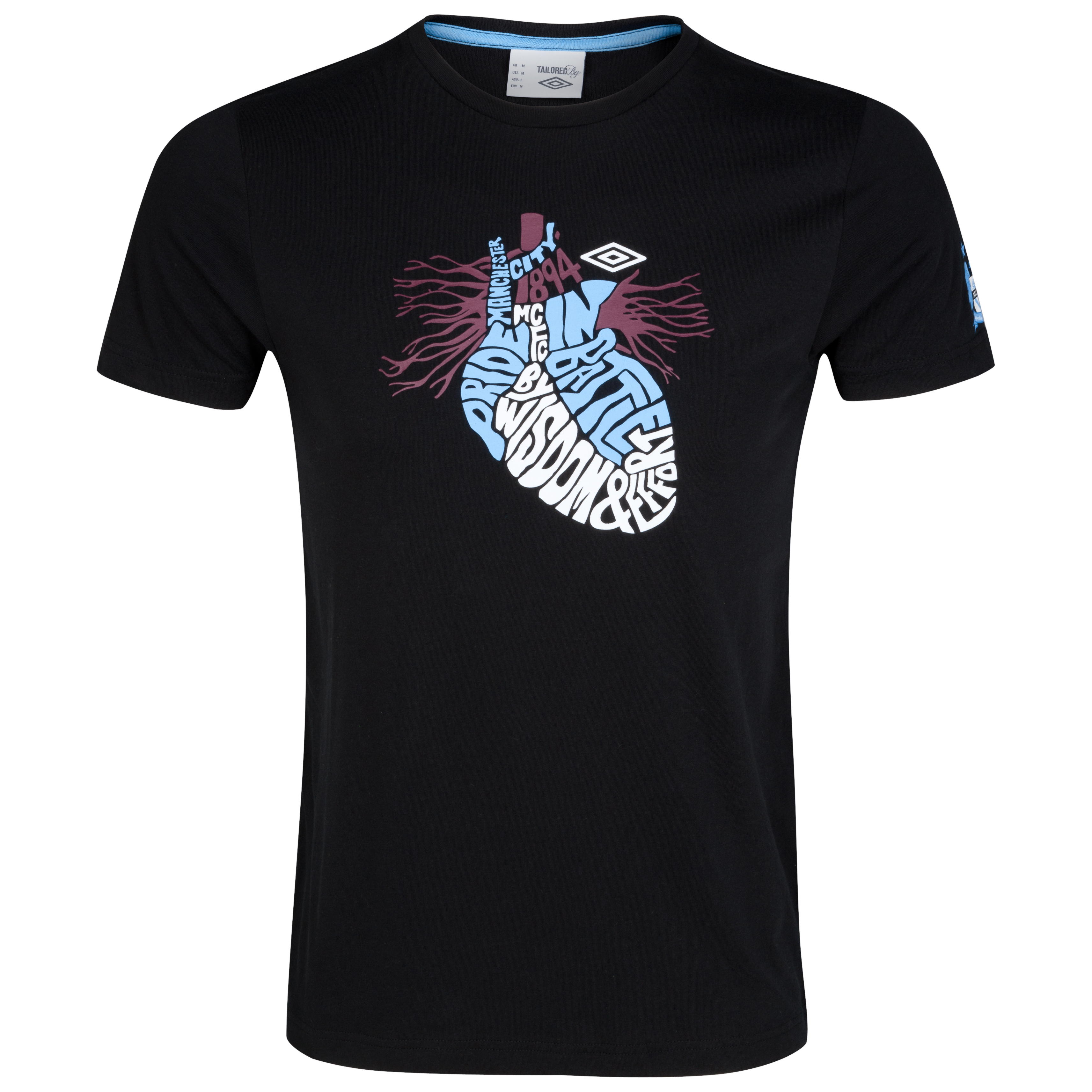 Manchester City WTC Heart Wording Graphic T-Shirt - Black
