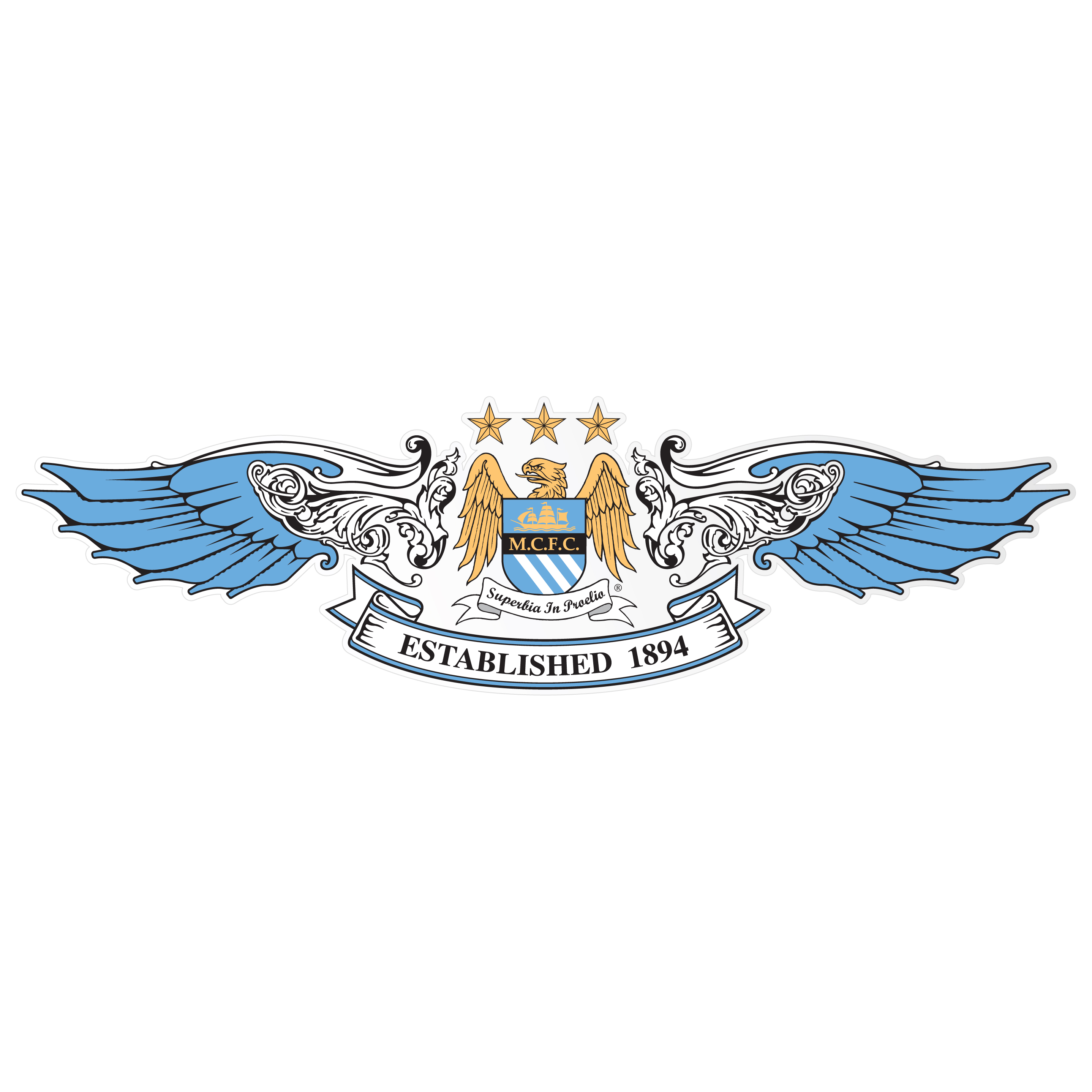 Manchester City Wings Long Car Sticker