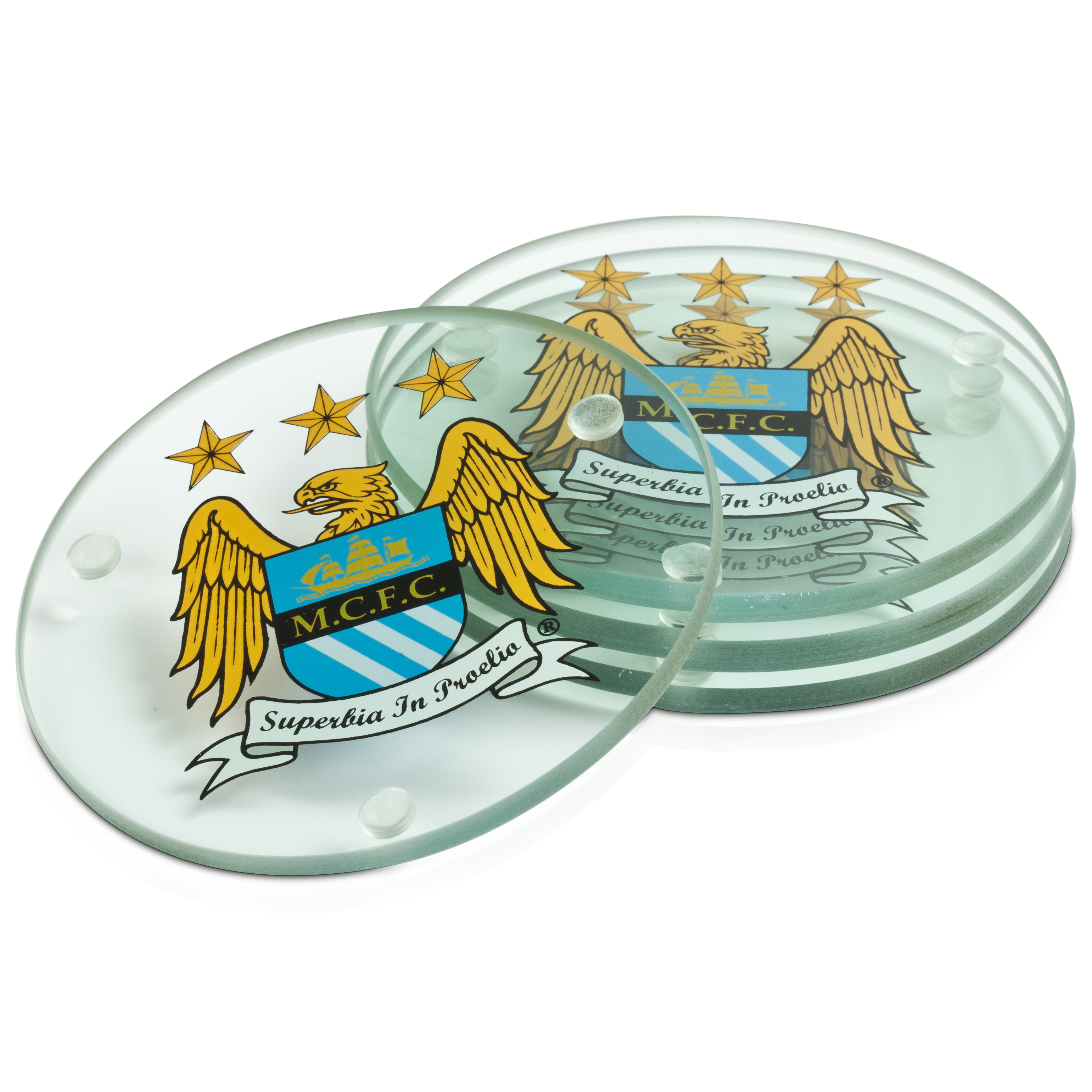 Manchester City Crest Round Glass Coasters 4 Pack - Clear
