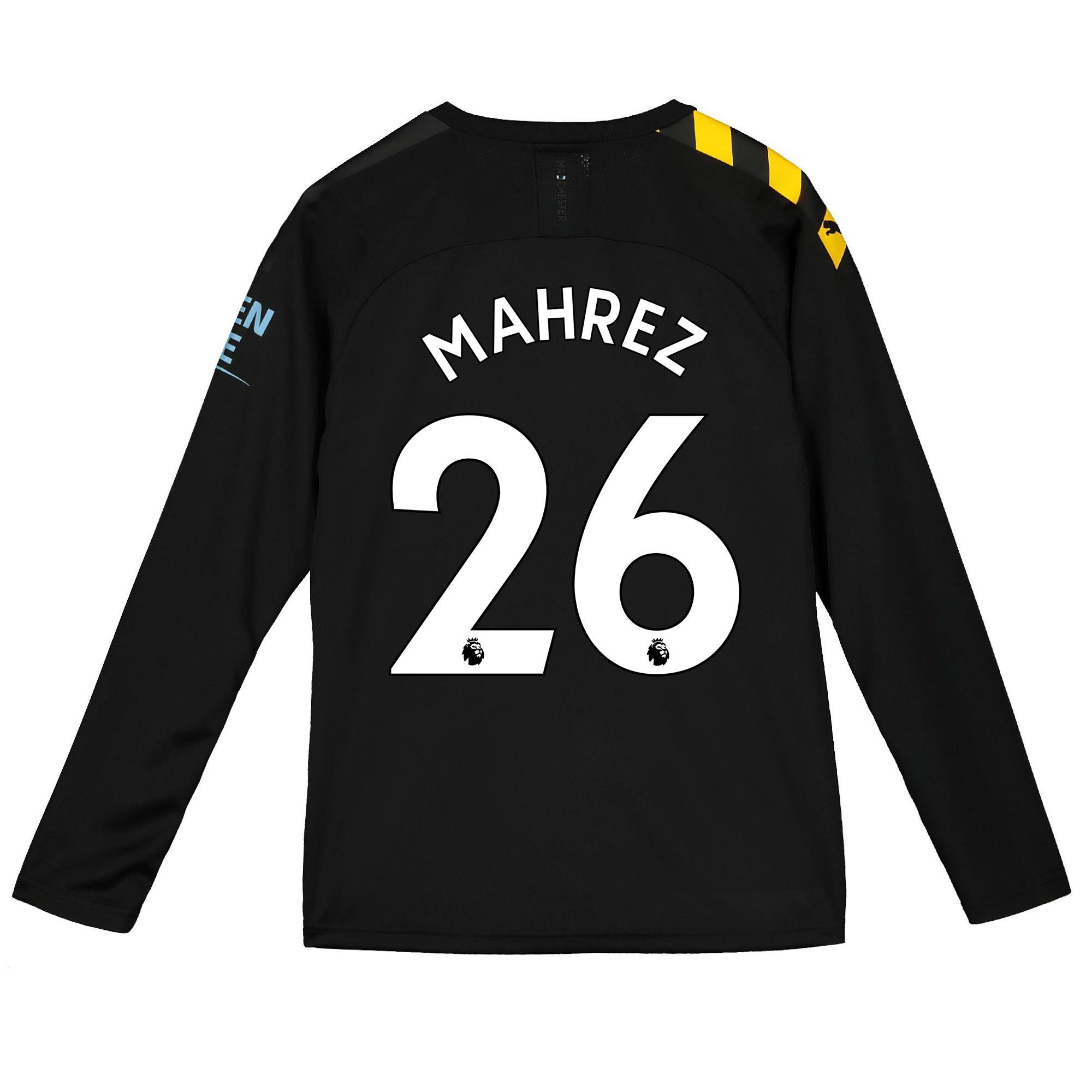 Camiseta de manga larga de la 2.ª equipación del Manchester City 2019-20 para niños dorsal Mahrez 26