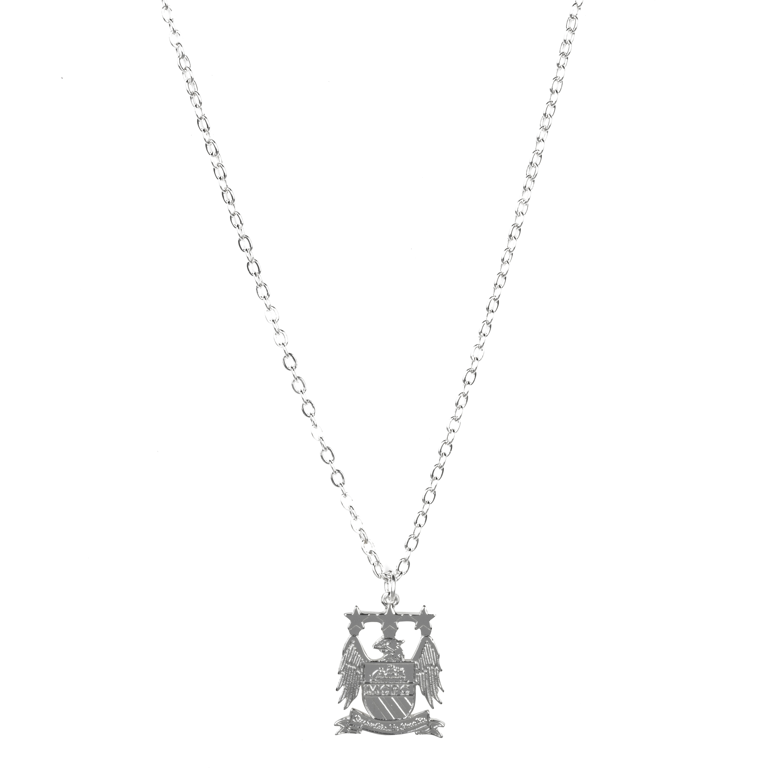 Manchester City Silver Plated Large Crest Pendant and Chain