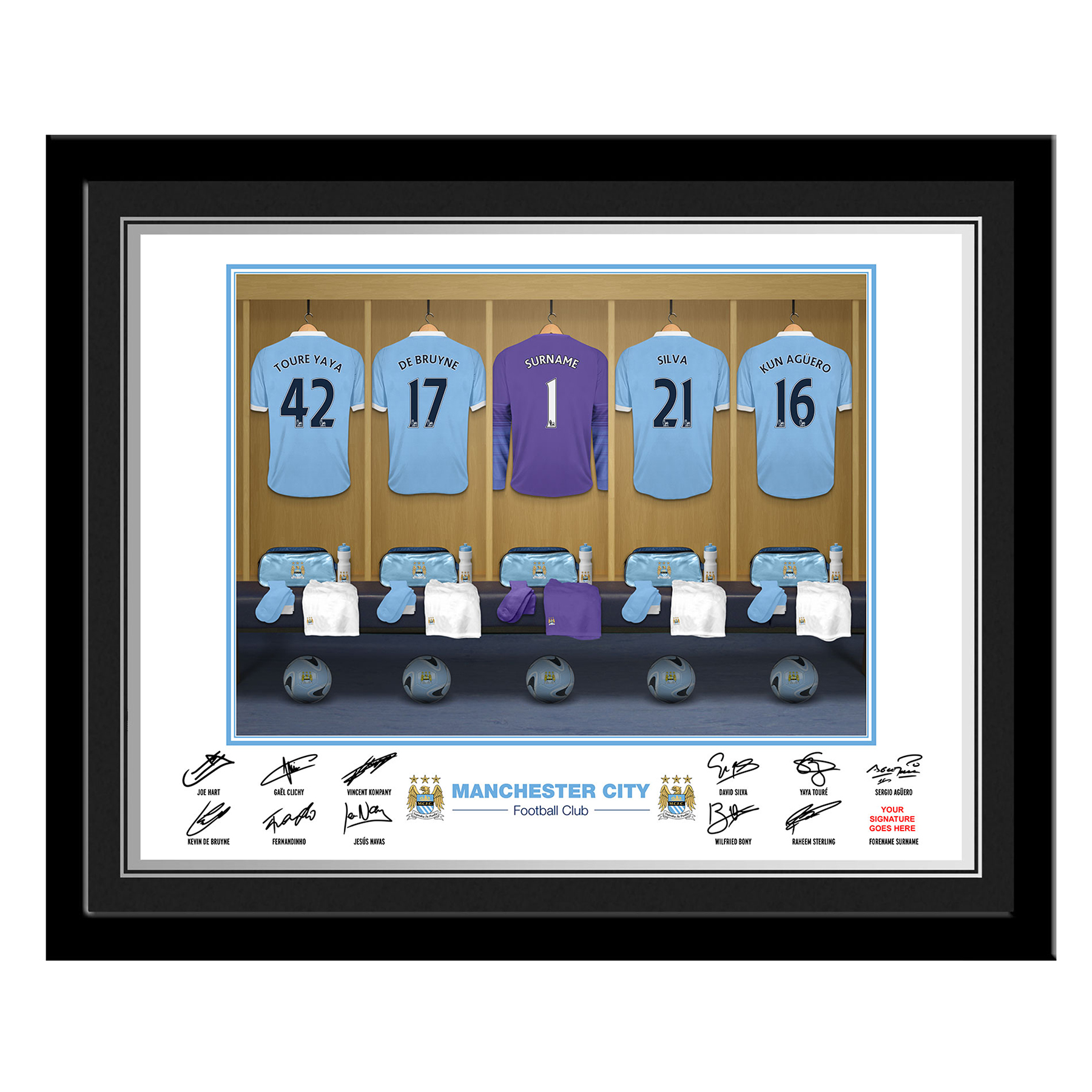 Manchester City Personalised Goal Keeper Dressing Room Photo Framed