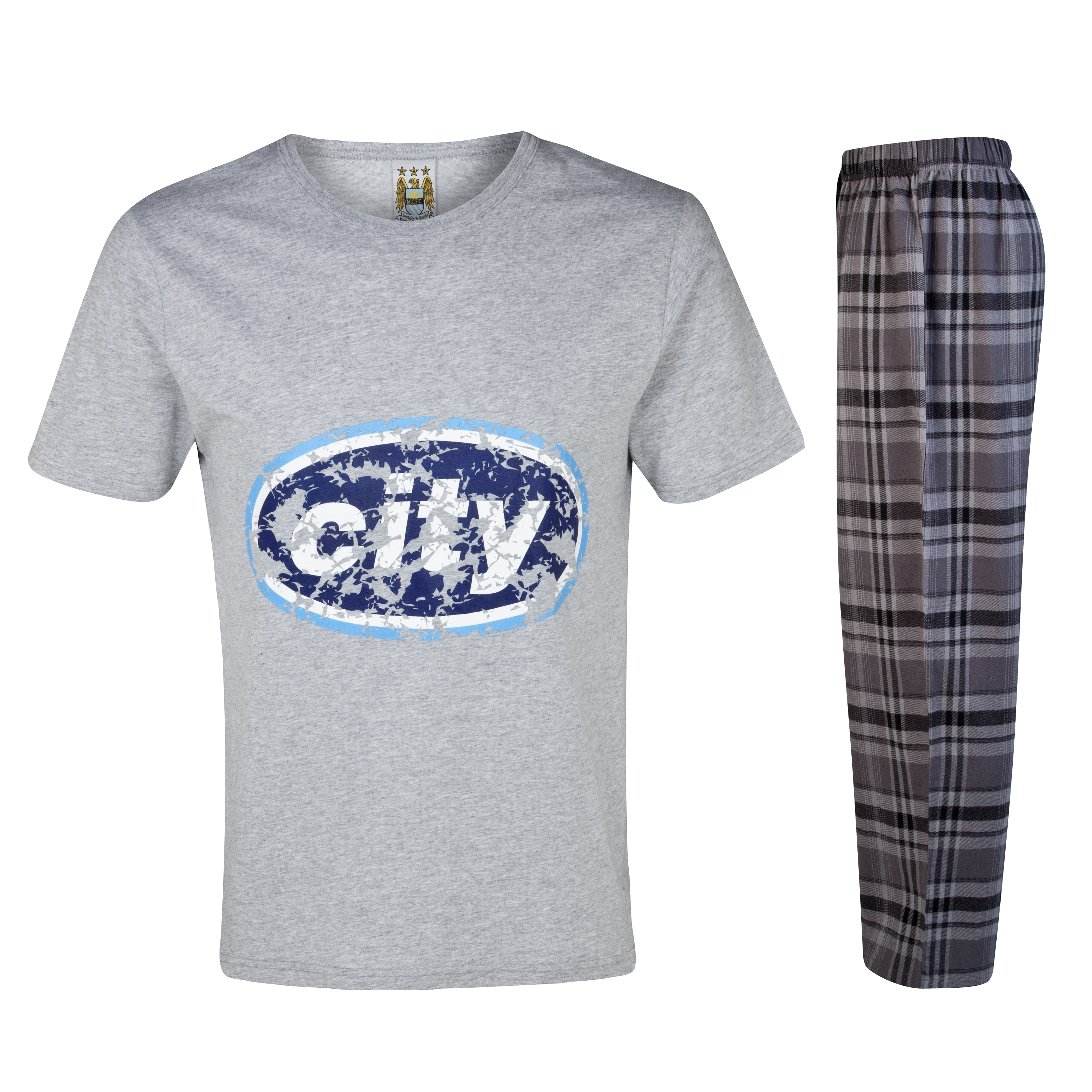 Manchester City Oval Check Pyjama-Grey/Charcoal