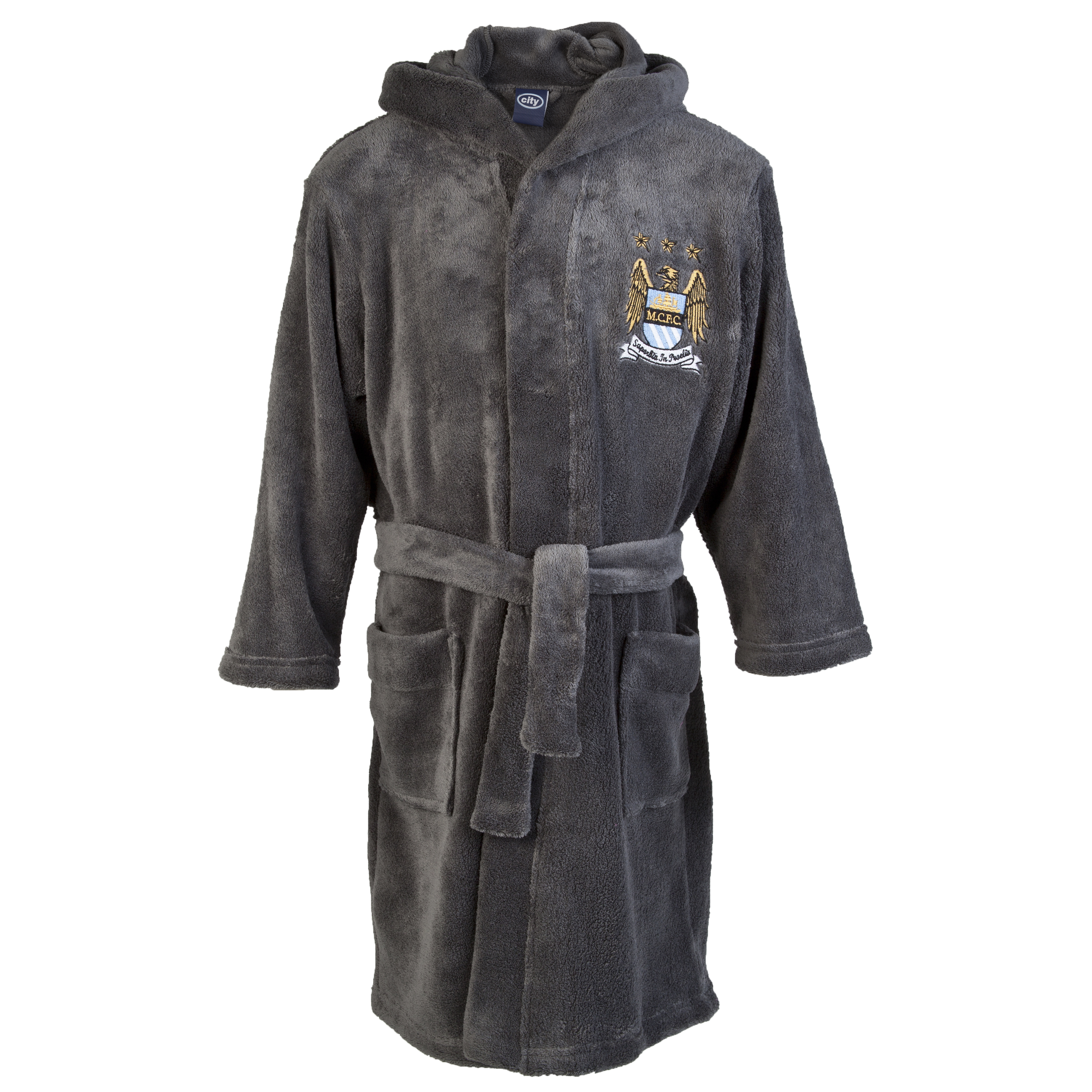 Manchester City Supersoft Robe - Charcoal - Boys