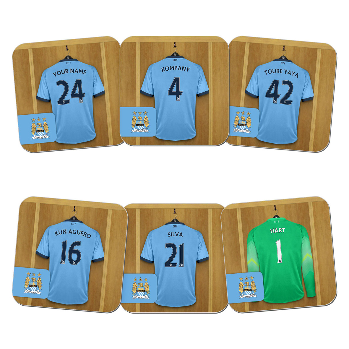 Manchester City Personalised Dressing Room Coasters 6 Pack