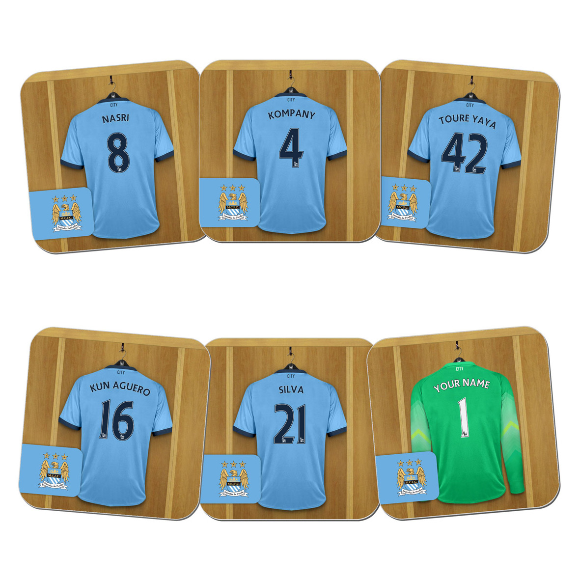 Manchester City Personalised Goal Keeper Dressing Room Coasters 6 Pack