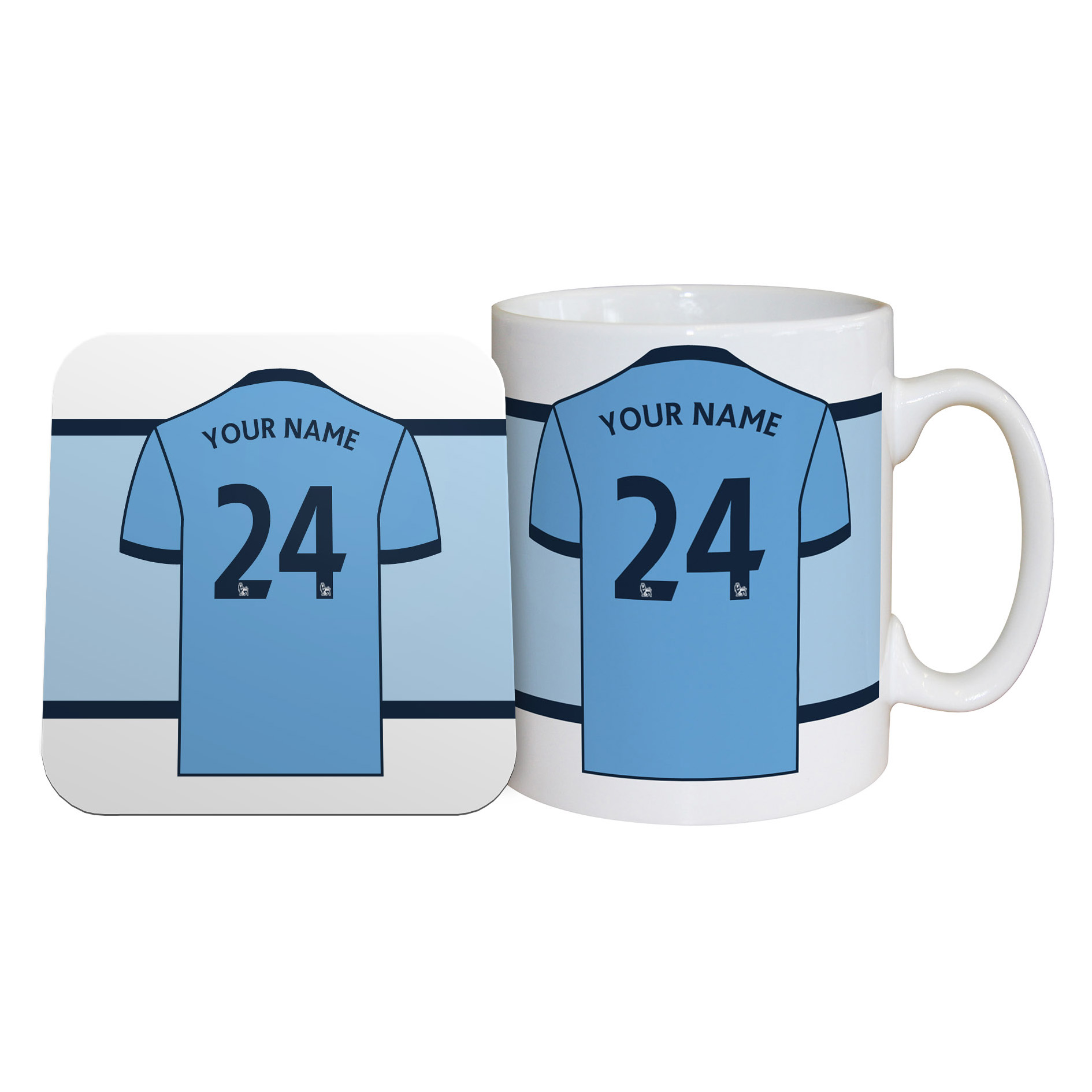 Manchester City Personalised Shirt Number Mug and Coaster Set