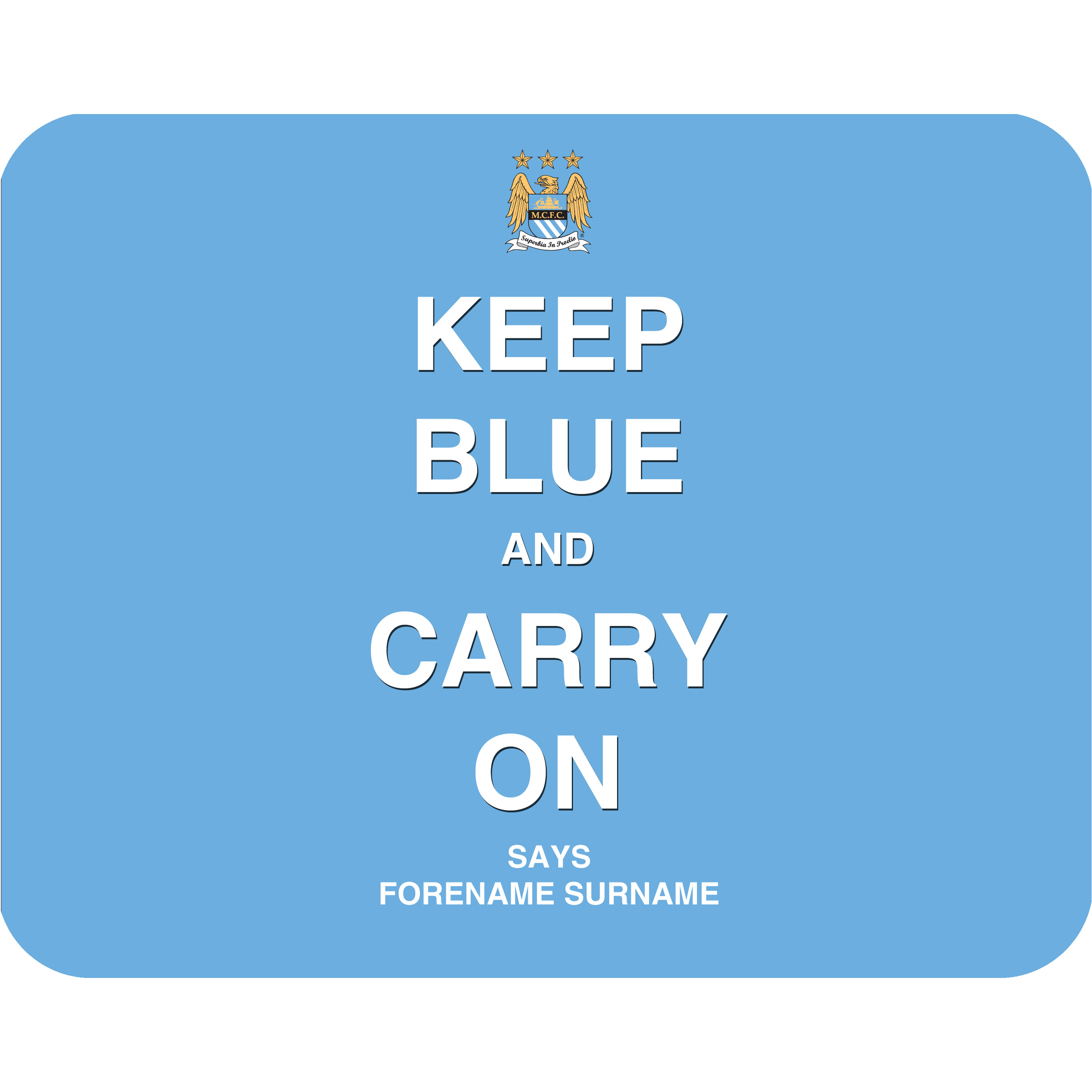 Manchester City Personalised Keep Blue Mouse Mat