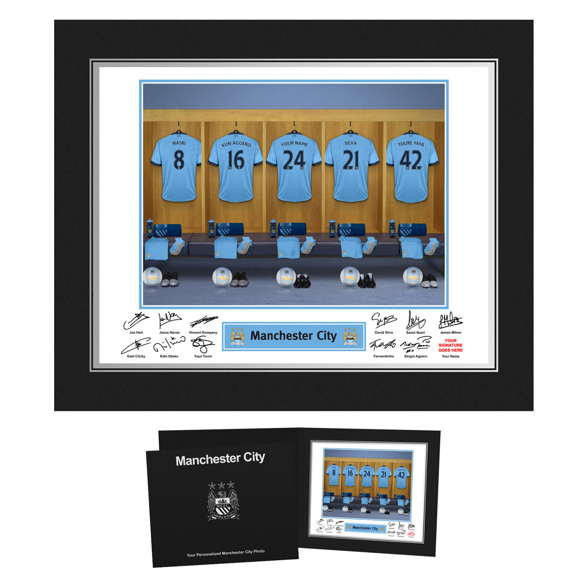 Manchester City Personalised Dressing Room Photo in Presentation Folder
