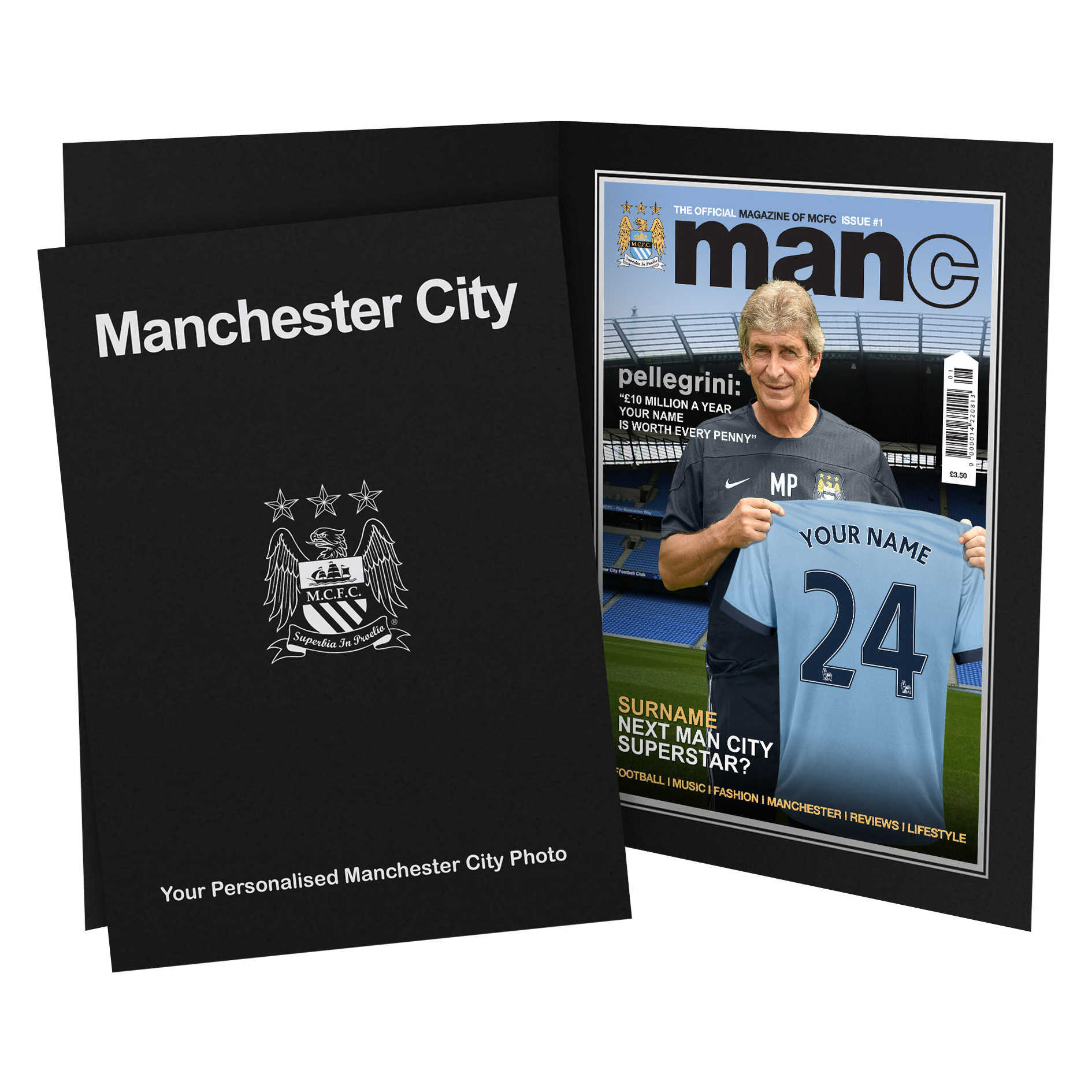 Manchester City Personalised Magazine Cover in Presentation Folder