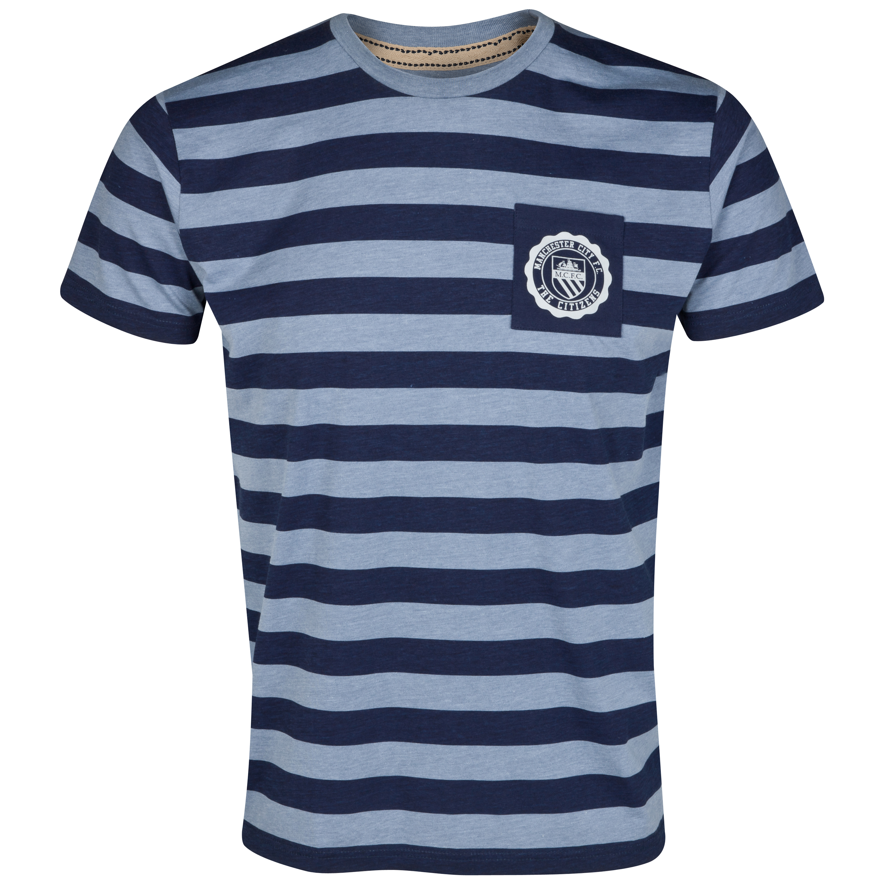 Manchester City Maine Stripe T-Shirt- Navy/Blue