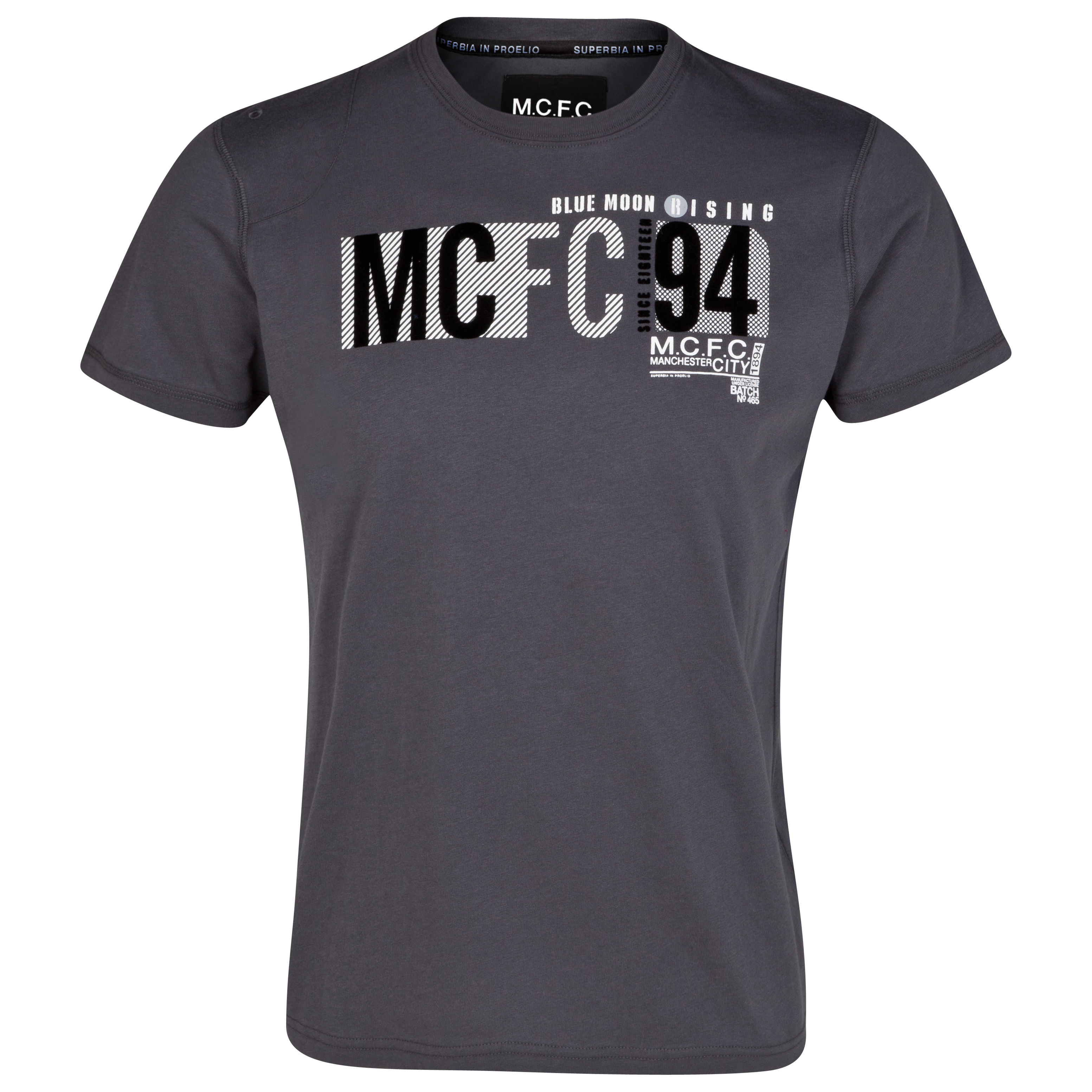 Manchester City Typeface T-Shirt - Charcoal- Older Boys