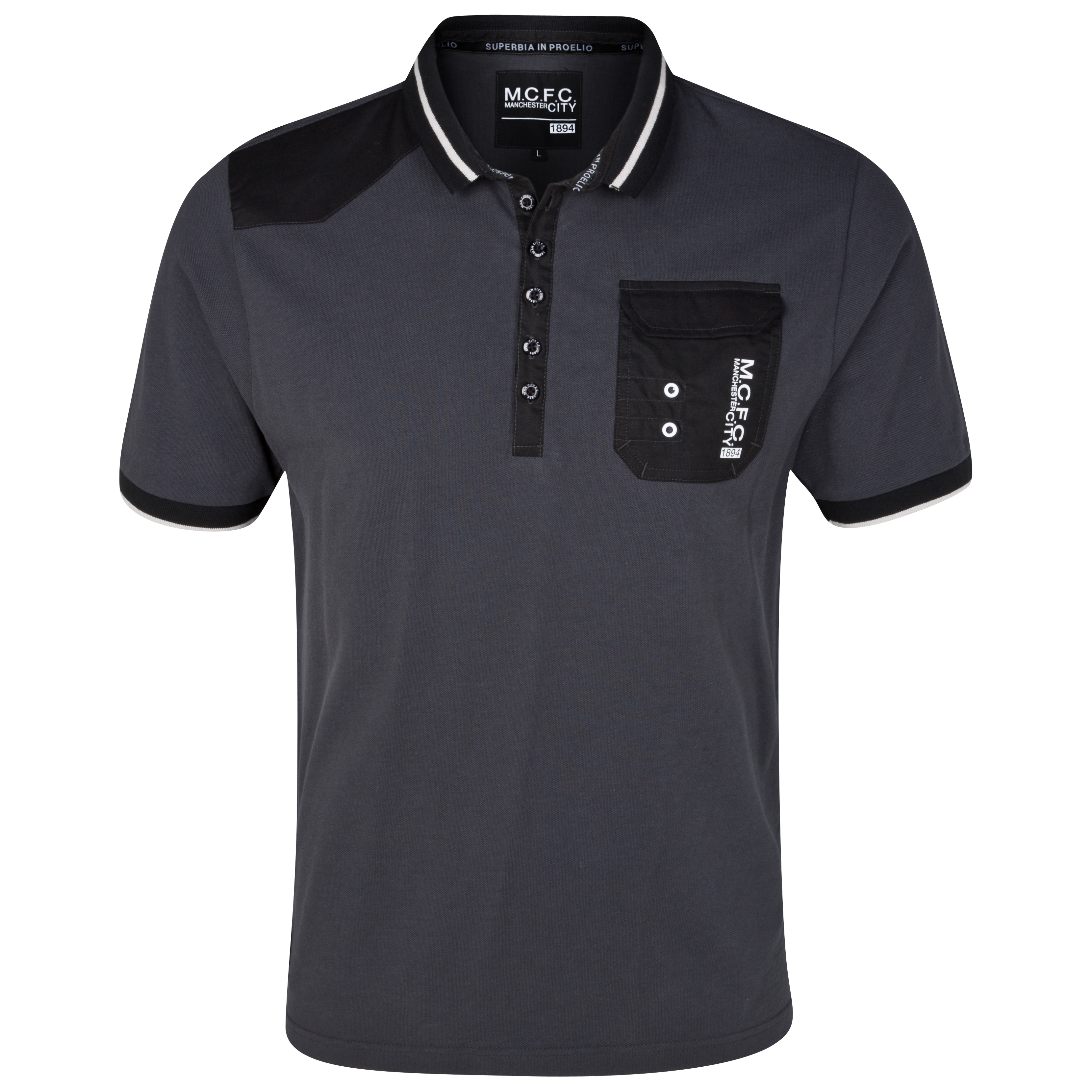 Manchester City Plackett Polo Top - Charcoal - Older Boys