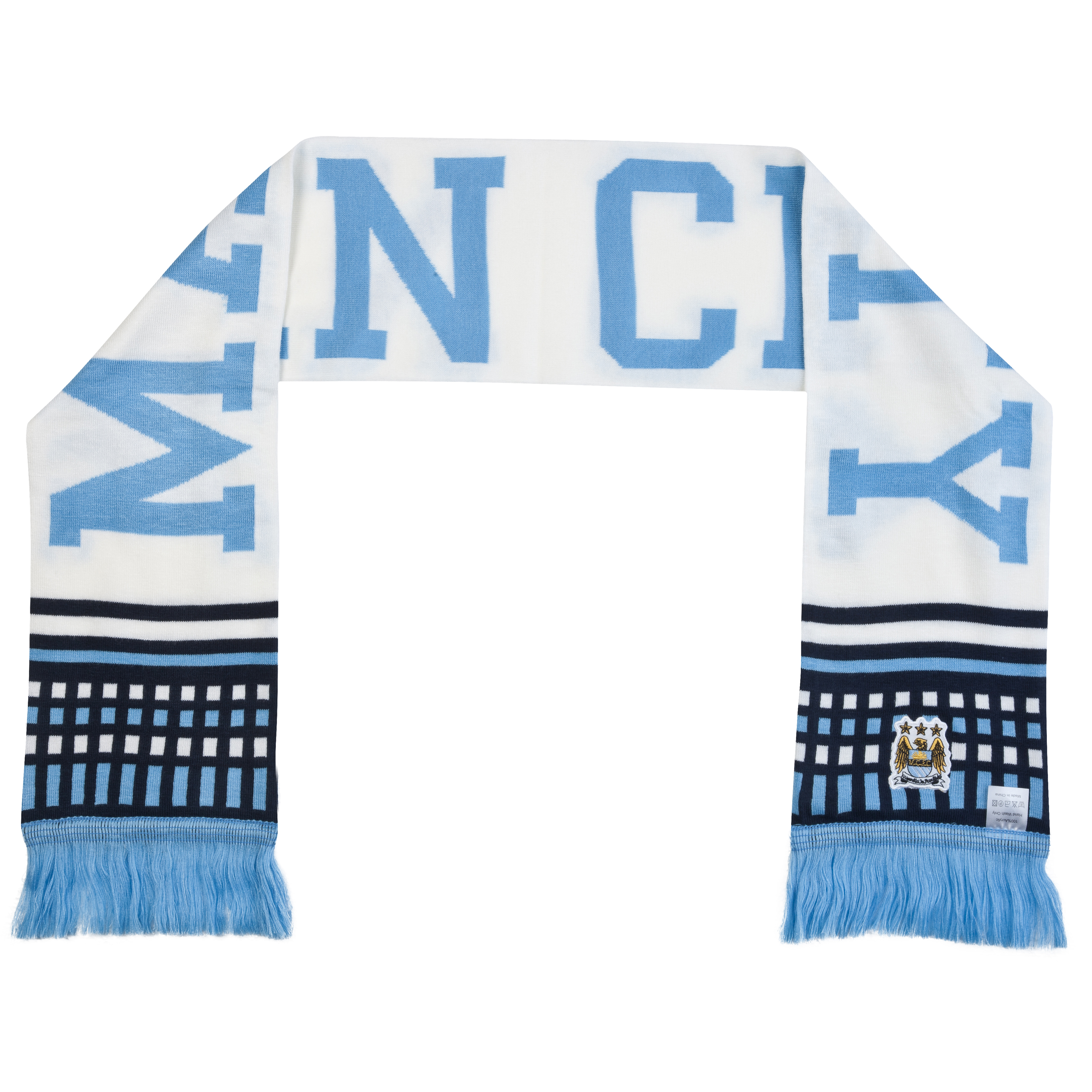 Manchester City Text Scarf - White/Sky/Black