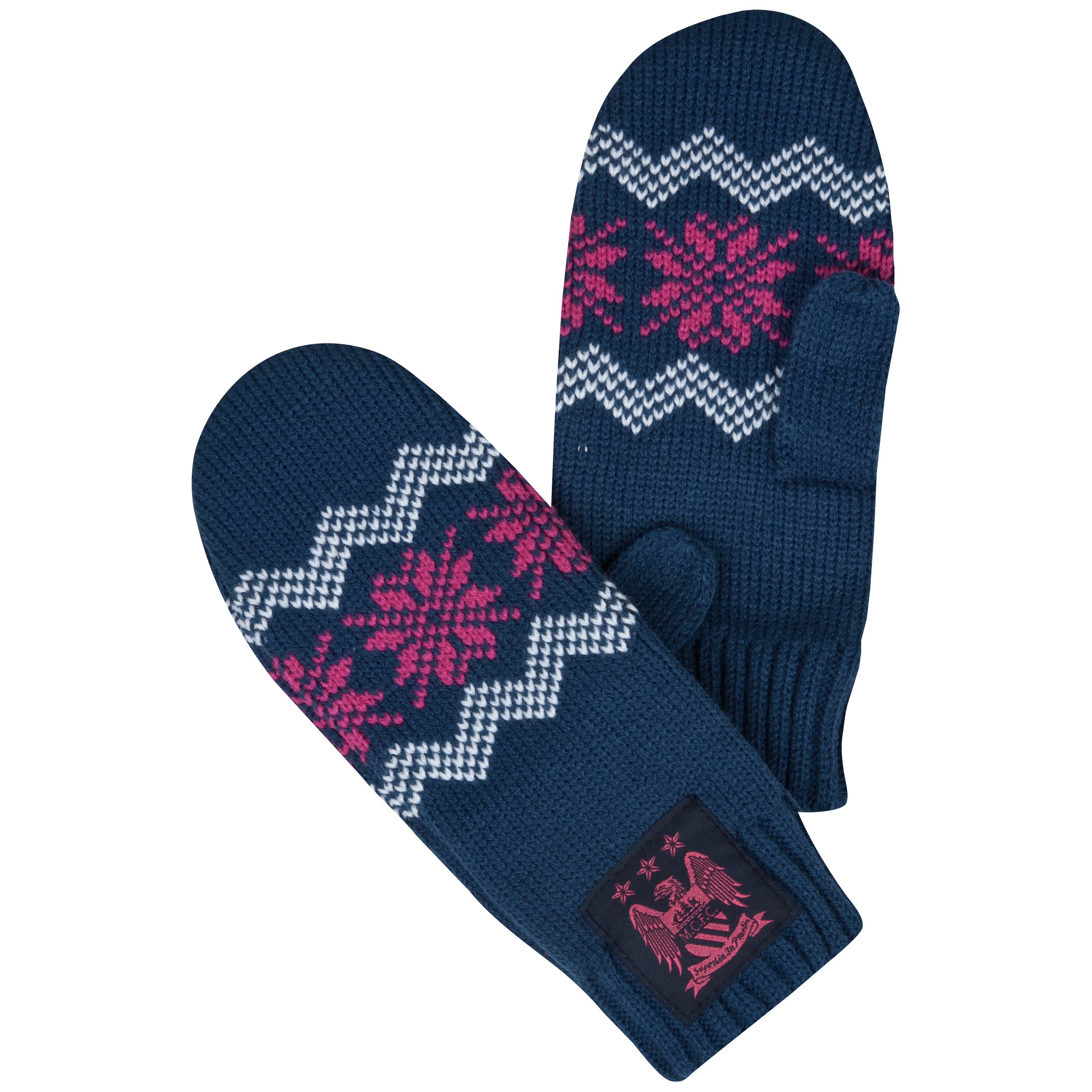 Manchester City Moston Mittens - Navy/Pink - Junior