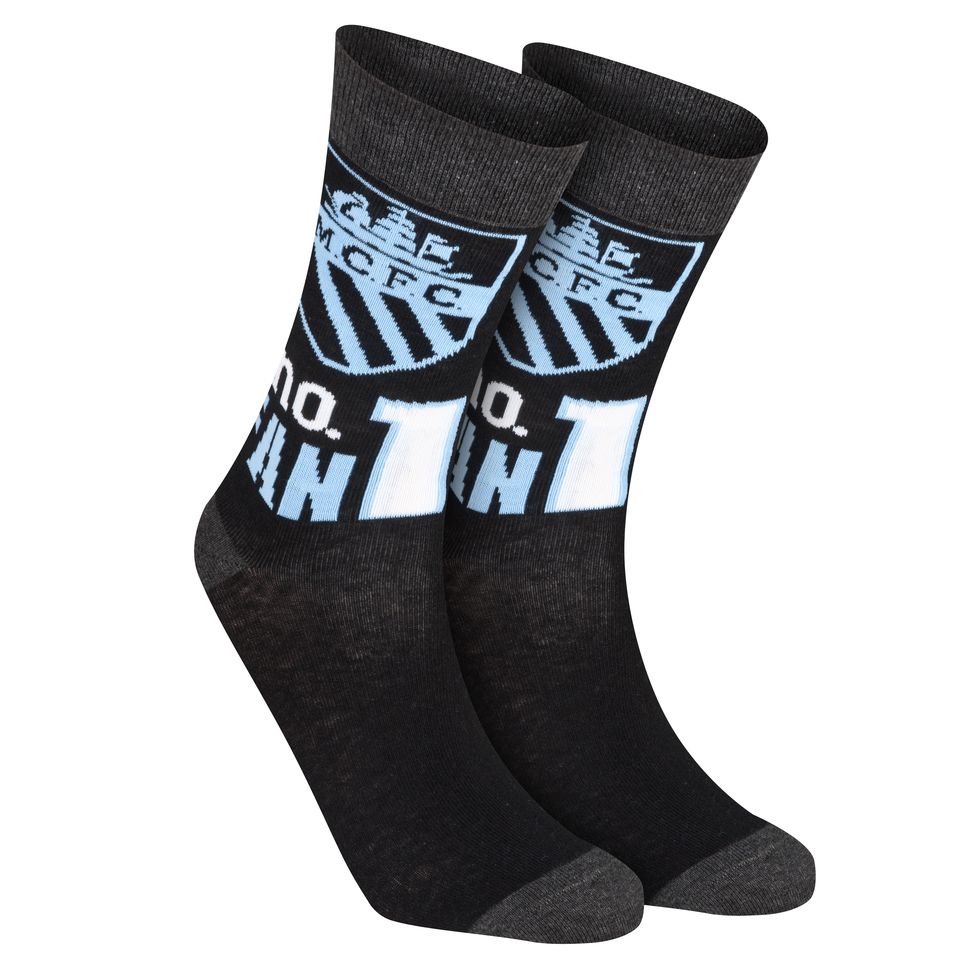 Manchester City Number 1 Fan Socks - Black/Grey/Sky