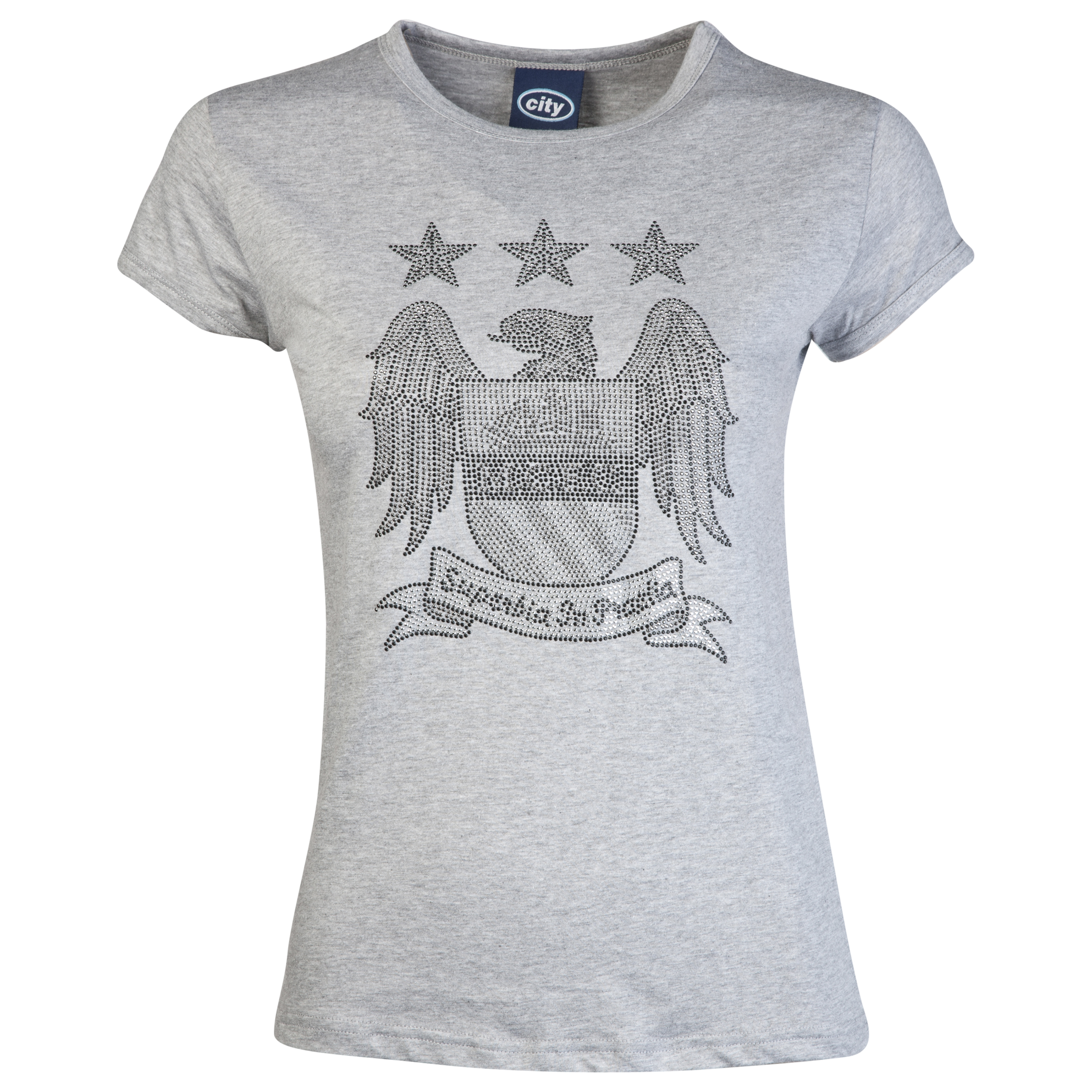 Manchester City Rhinestone T-Shirt - Grey Marl - Womens