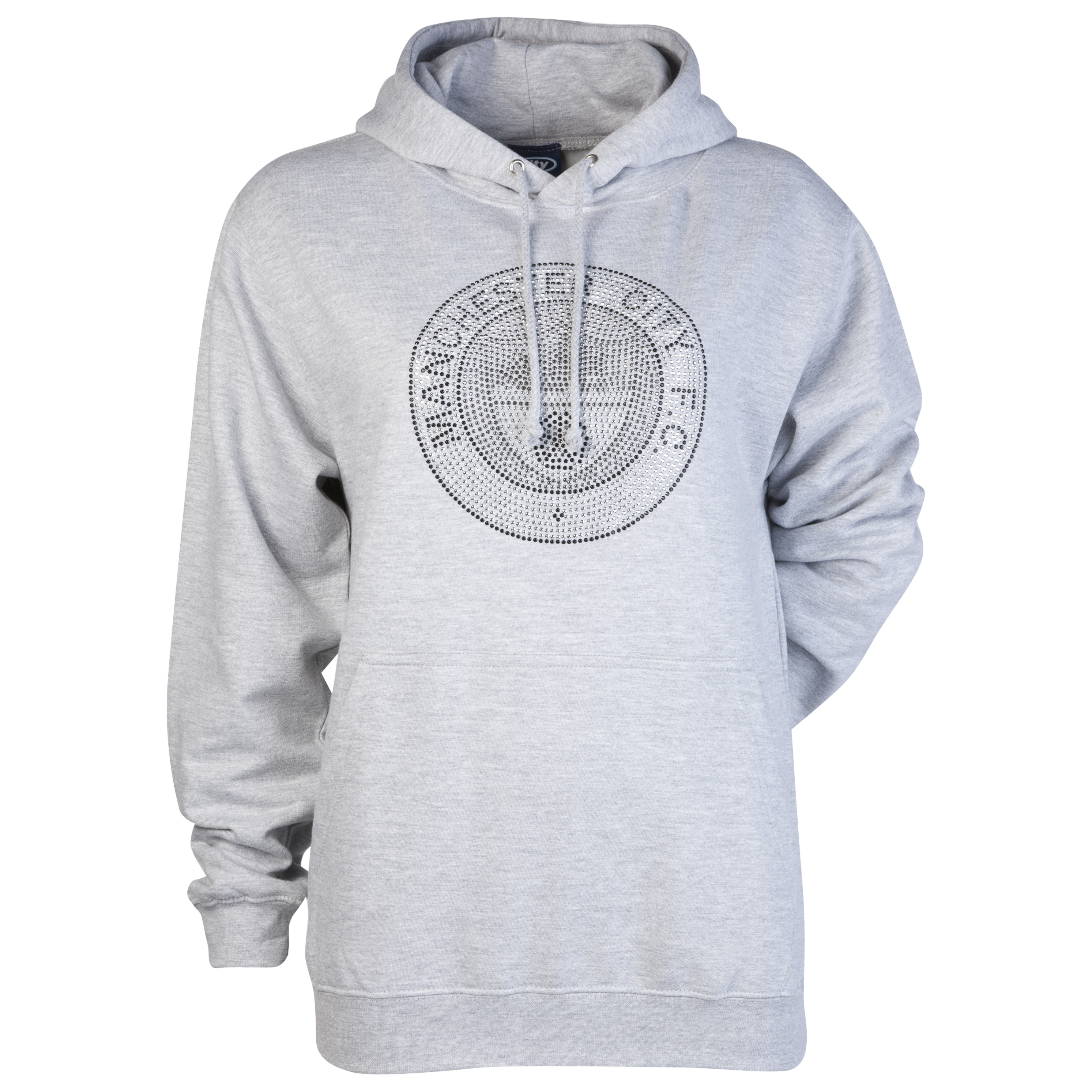 Manchester City Retro Rhinestone Hoodie - Grey Marl - Womens