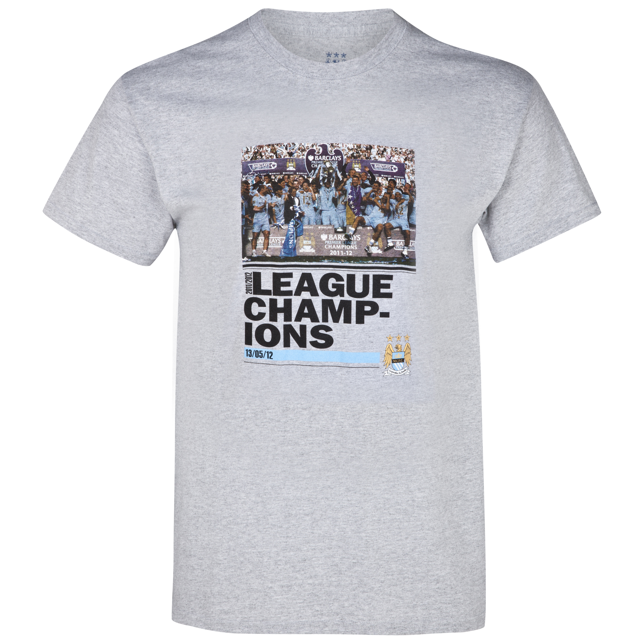 Manchester City Winners League T-Shirt - Grey Marl - Older Boys