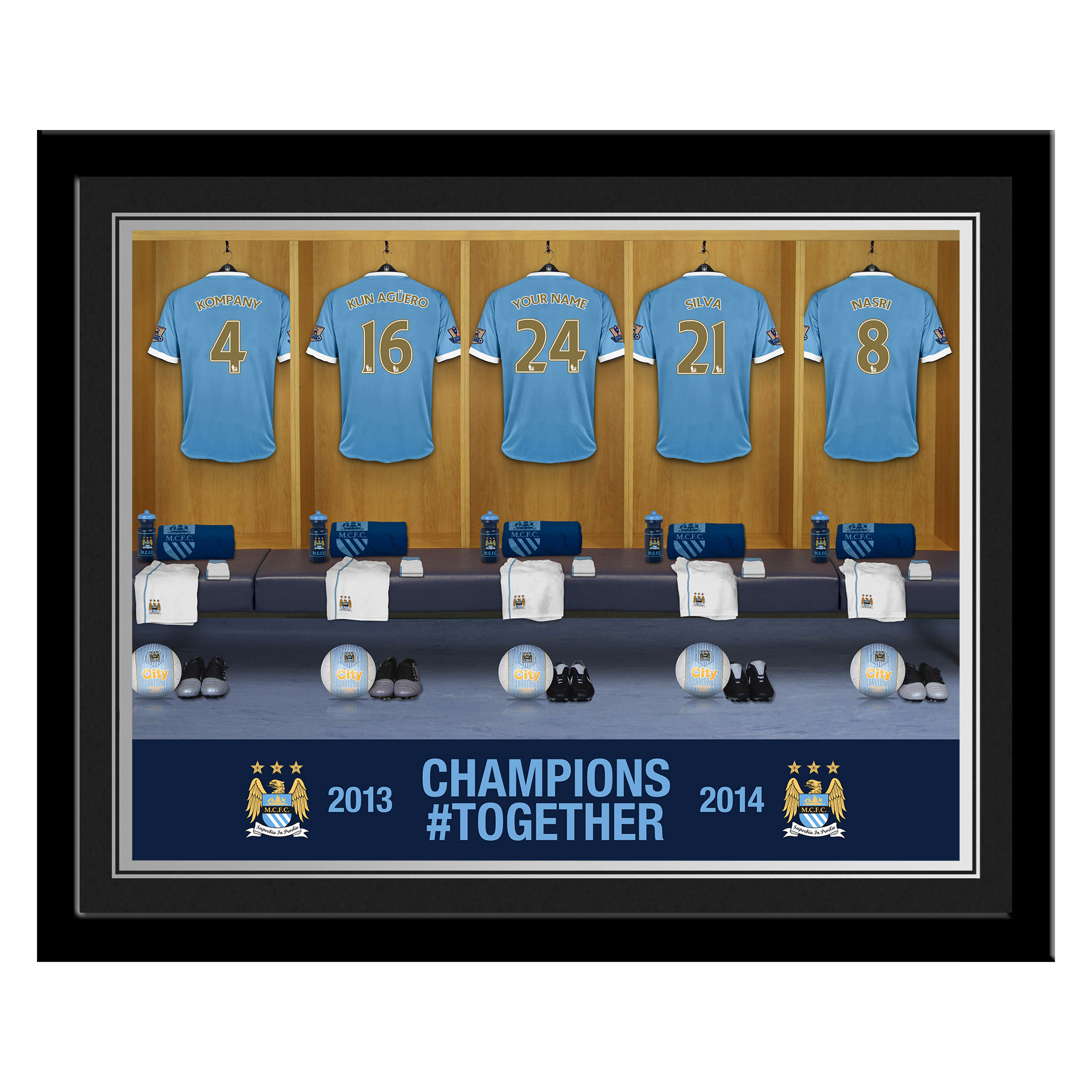 Manchester City Personalised Champions #Together Dressing Room Photo Framed 2013/2014