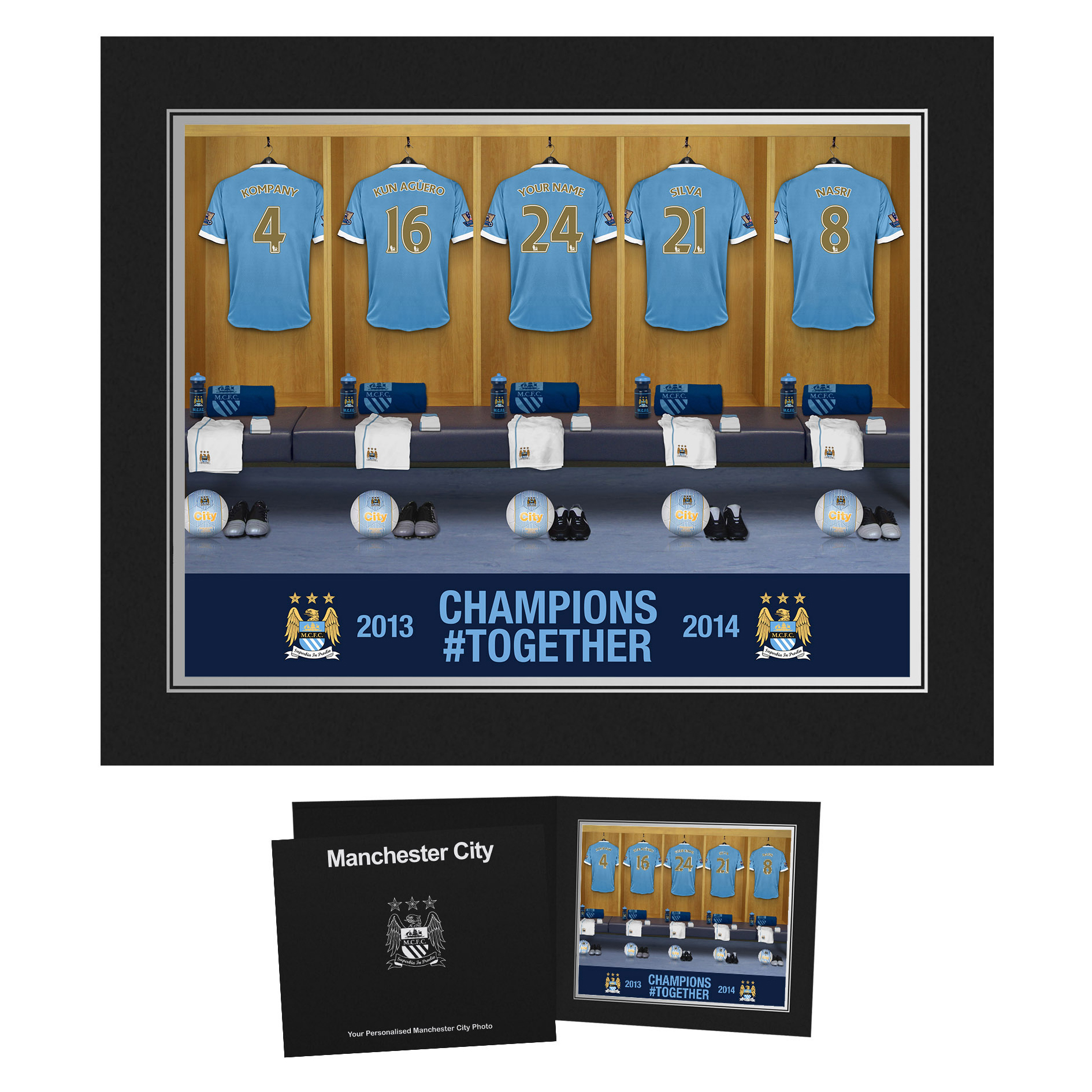 Manchester City Personalised Champions #Together Dressing Room Photo in Presentation Folder 2013/2014