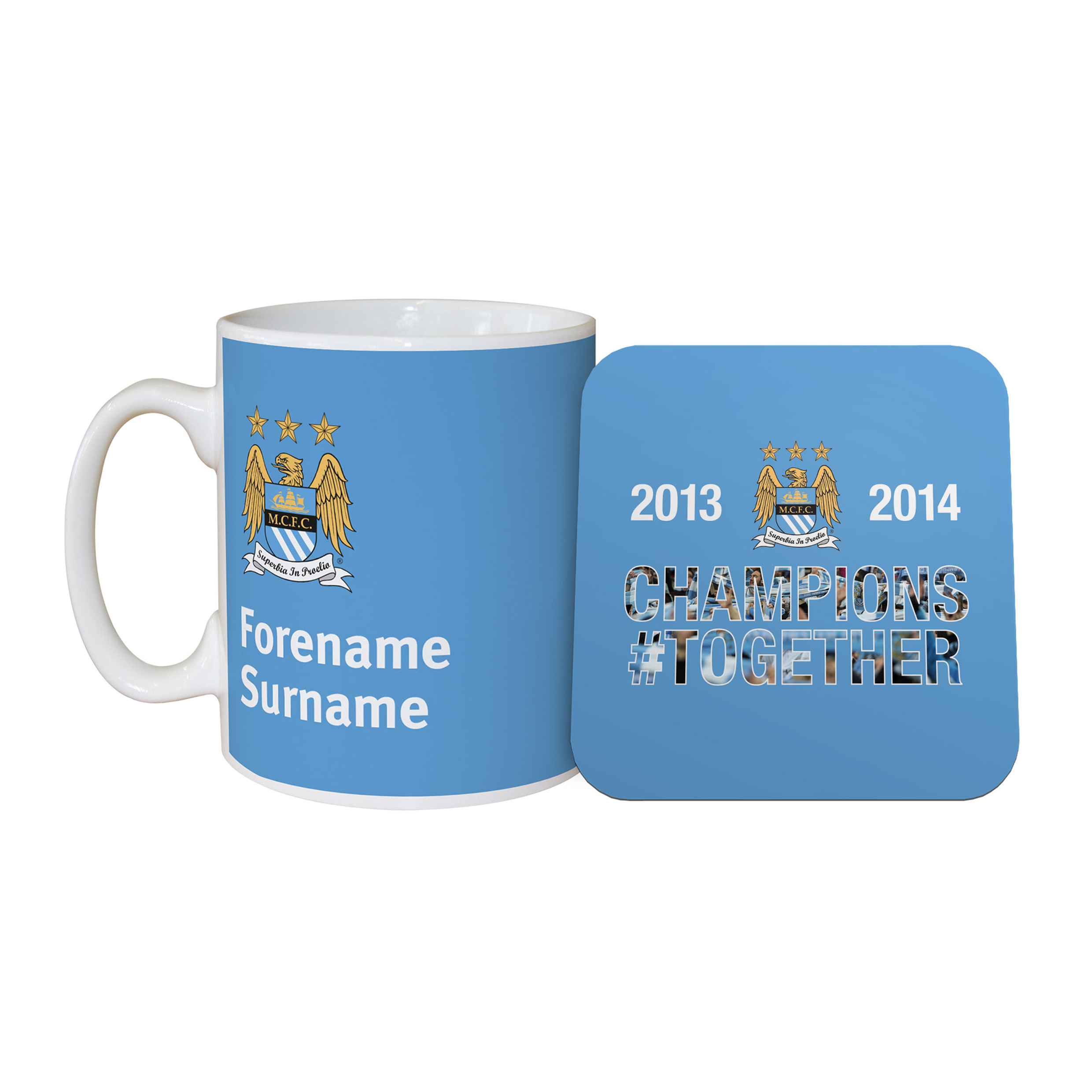 Manchester City Personalised Champions #Together Mug and Coaster Set 2013/2014