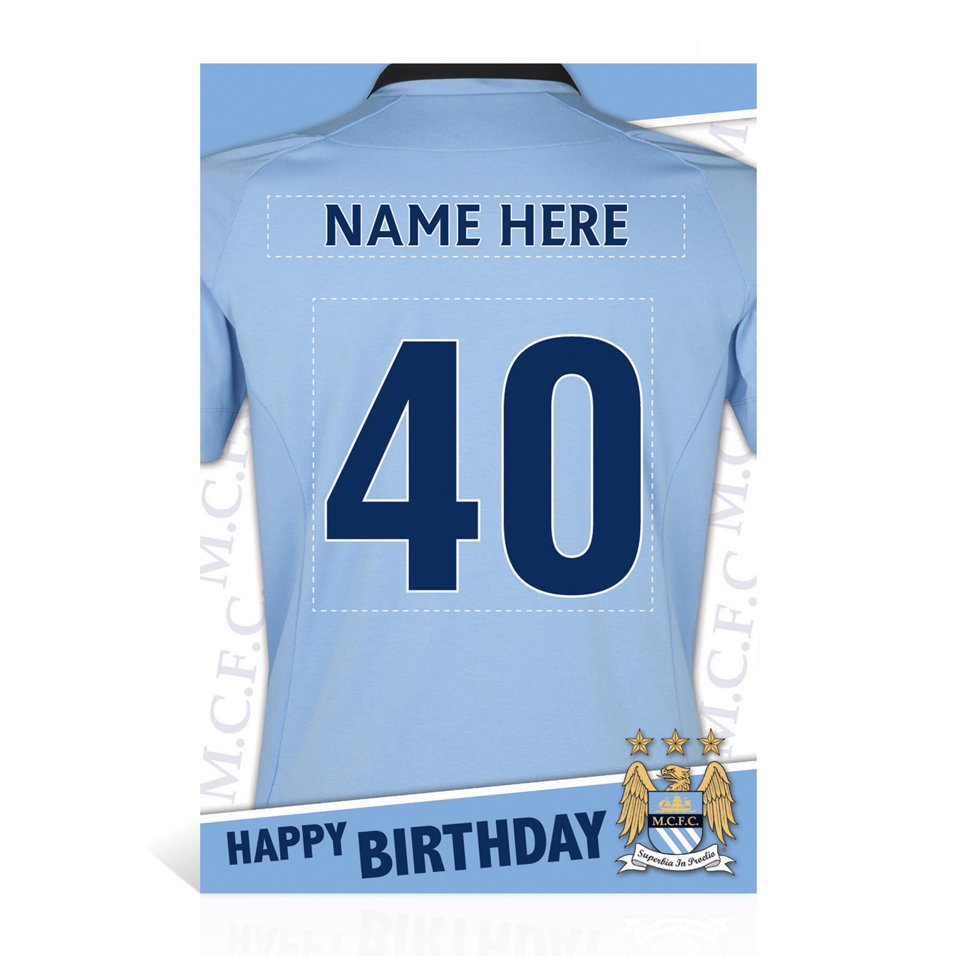 Manchester City Personalised Shirt Card