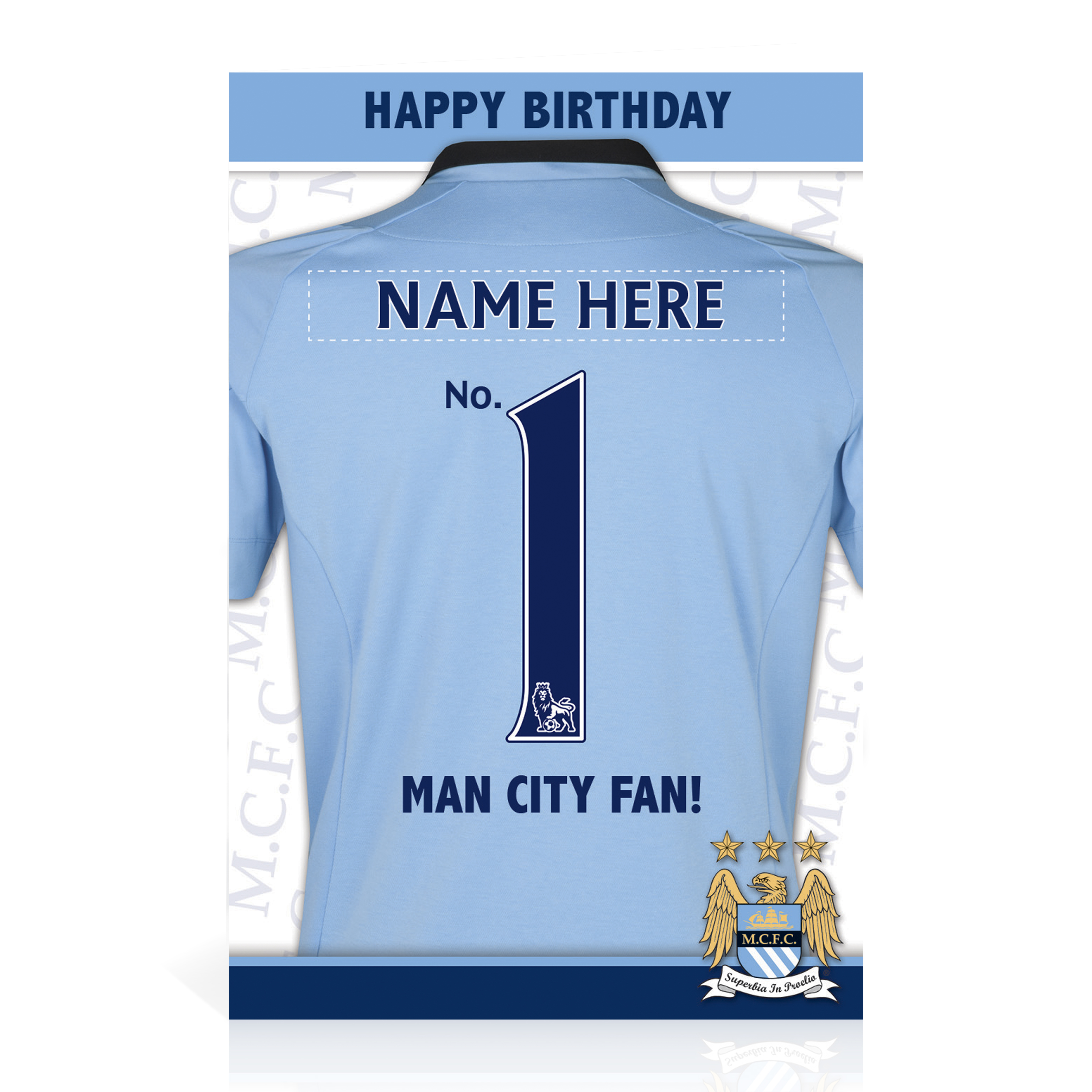 Manchester City Personalised Happy Birthday Card - No. 1 Fan