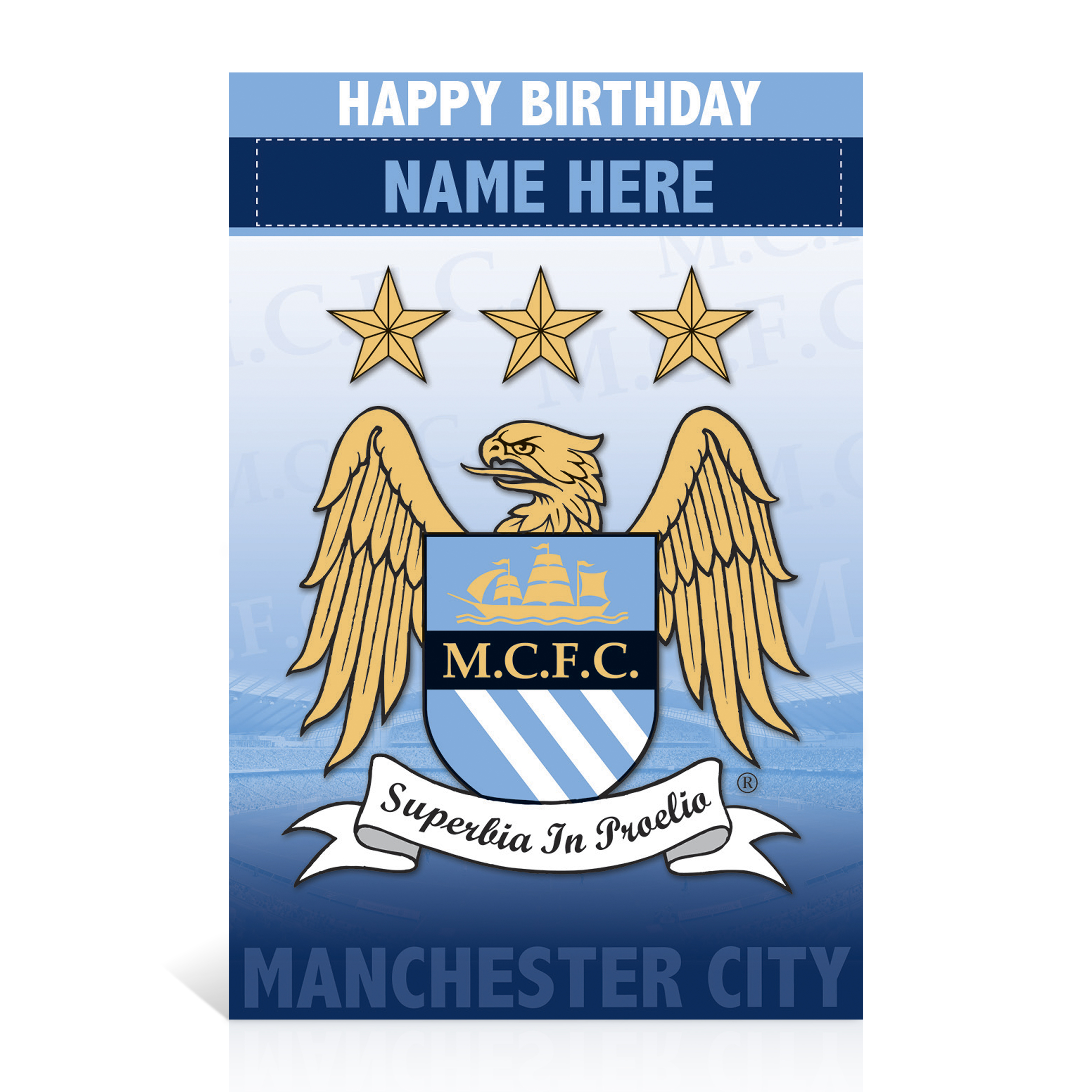 Manchester City Personalised Happy Birthday Card - Crest