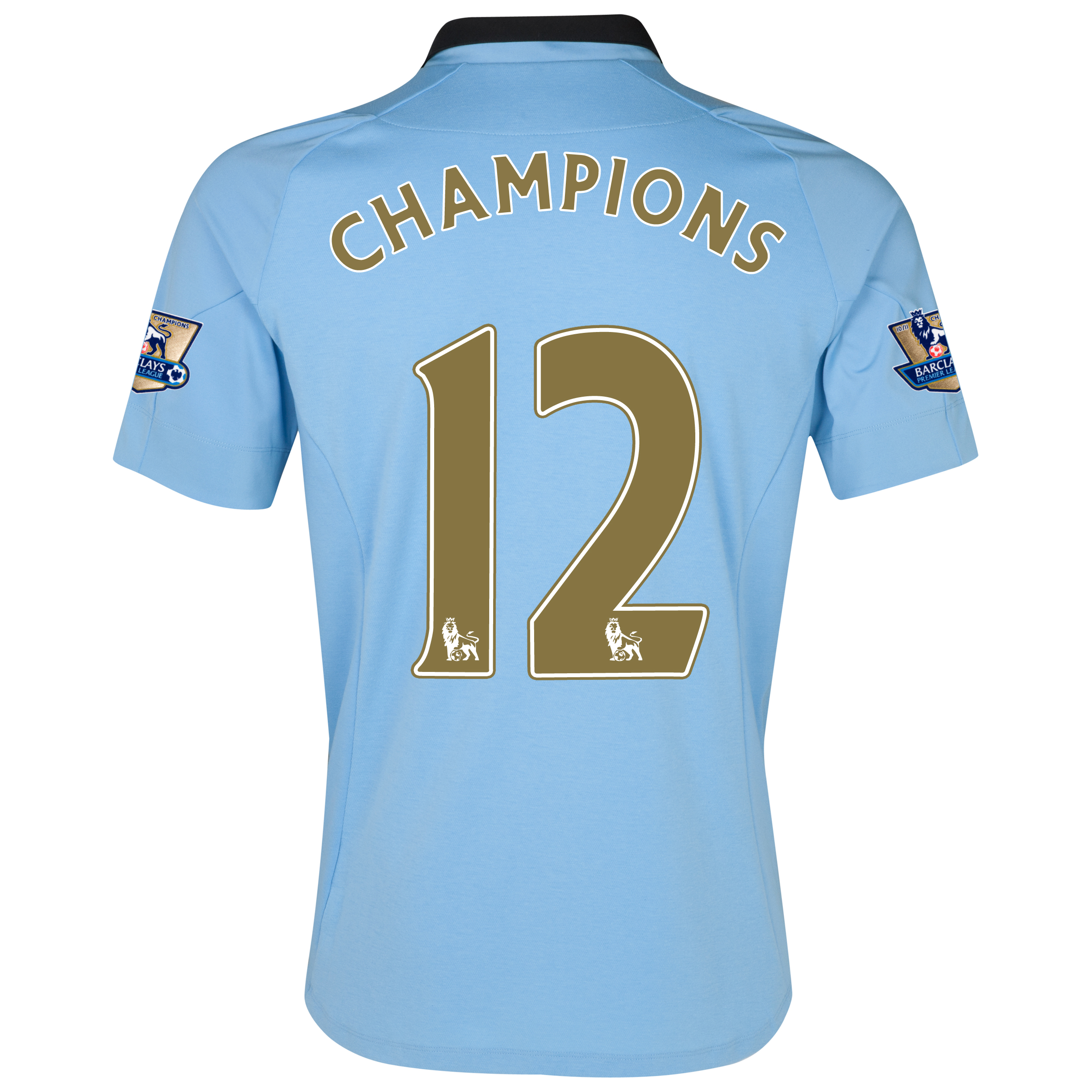 Manchester City Home Shirt 2012/13 with Champions 12 printing and Premier League Champions Badges