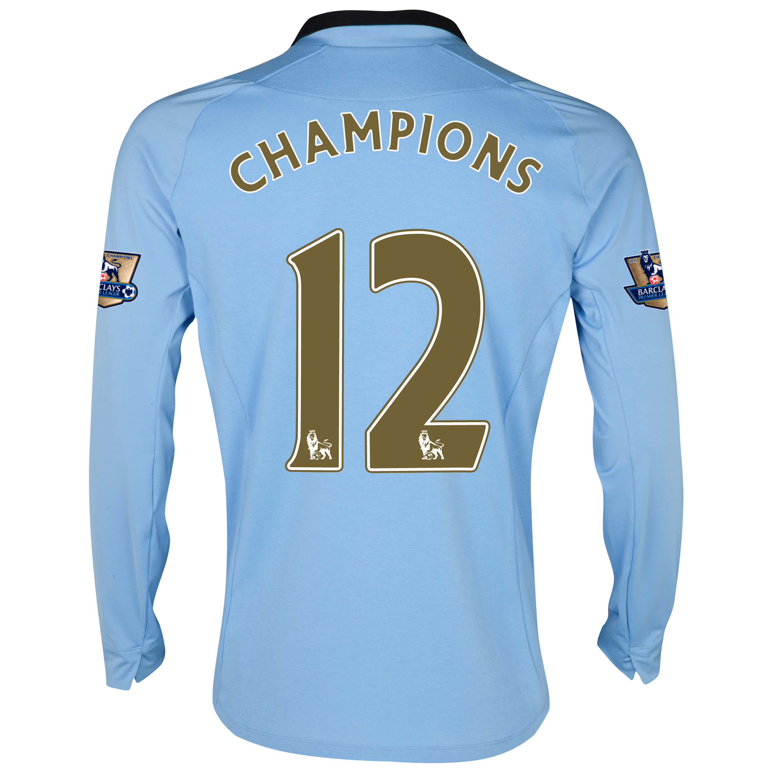 Manchester City Home Shirt 2012/13 - Long Sleeved with Champions 12 printing and Premier League Champions Badges