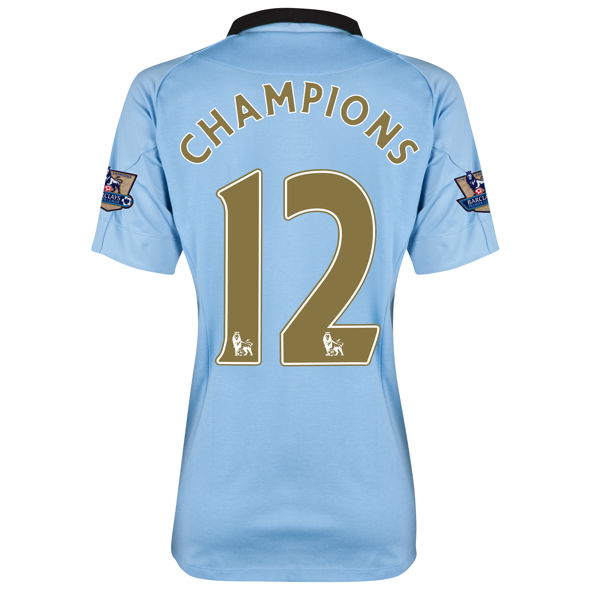 Manchester City Home Shirt 2012/13 with Champions 12 printing and Premier League Champions Badges - Womens