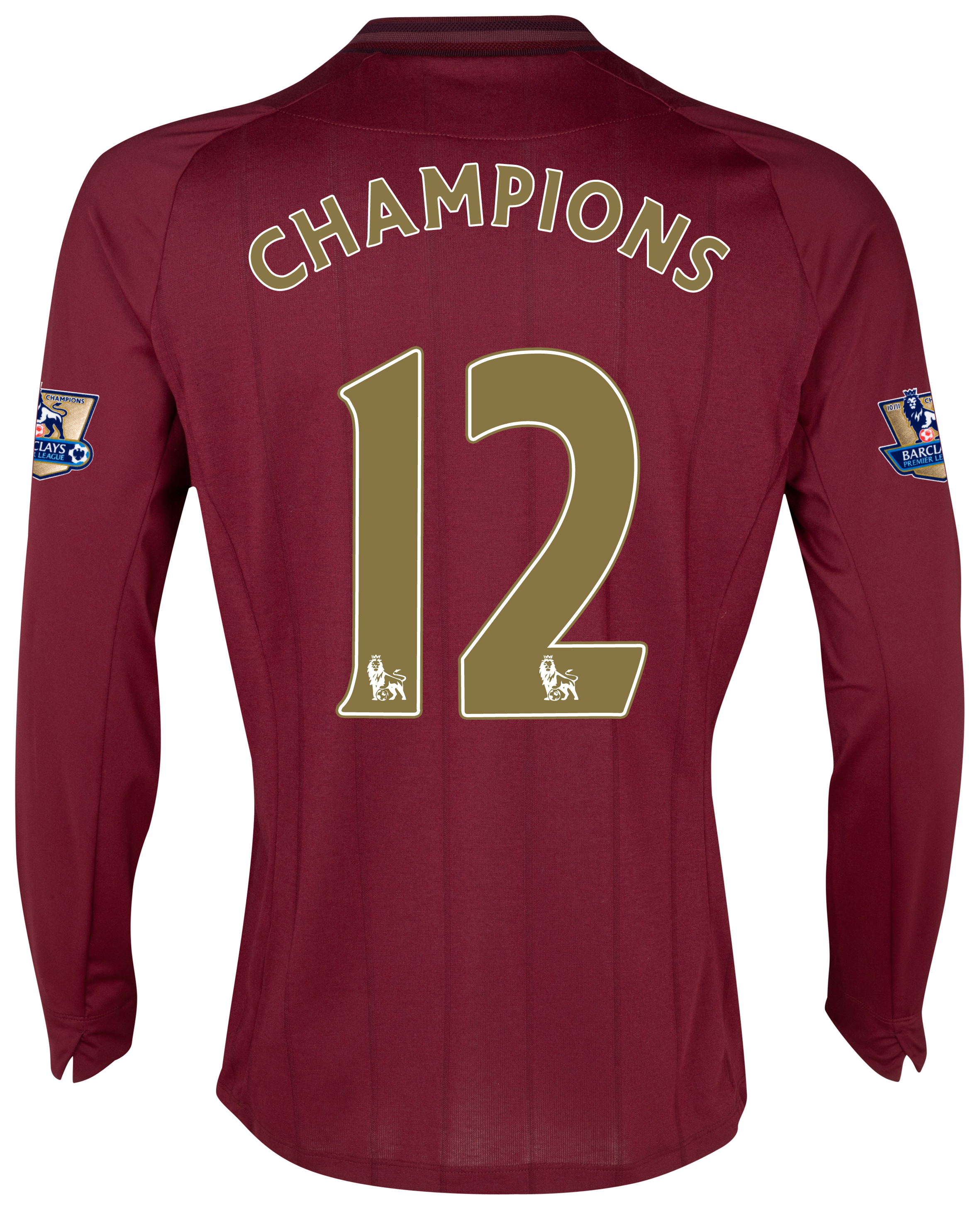 Manchester City Away Shirt 2012/13 with Champions 12 printing and Premier League Champions Badges - Long Sleeved