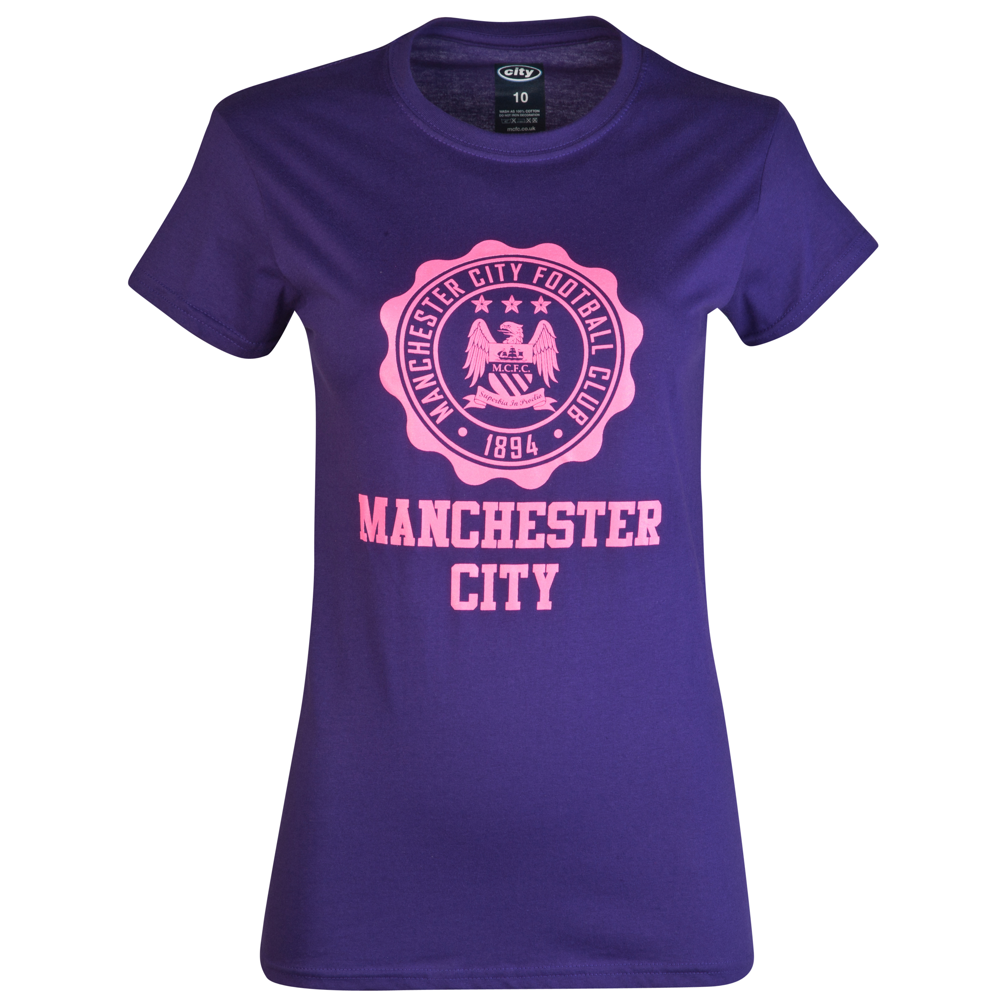 Manchester City 2 for 20 Dial T-Shirt - Purple - Womens