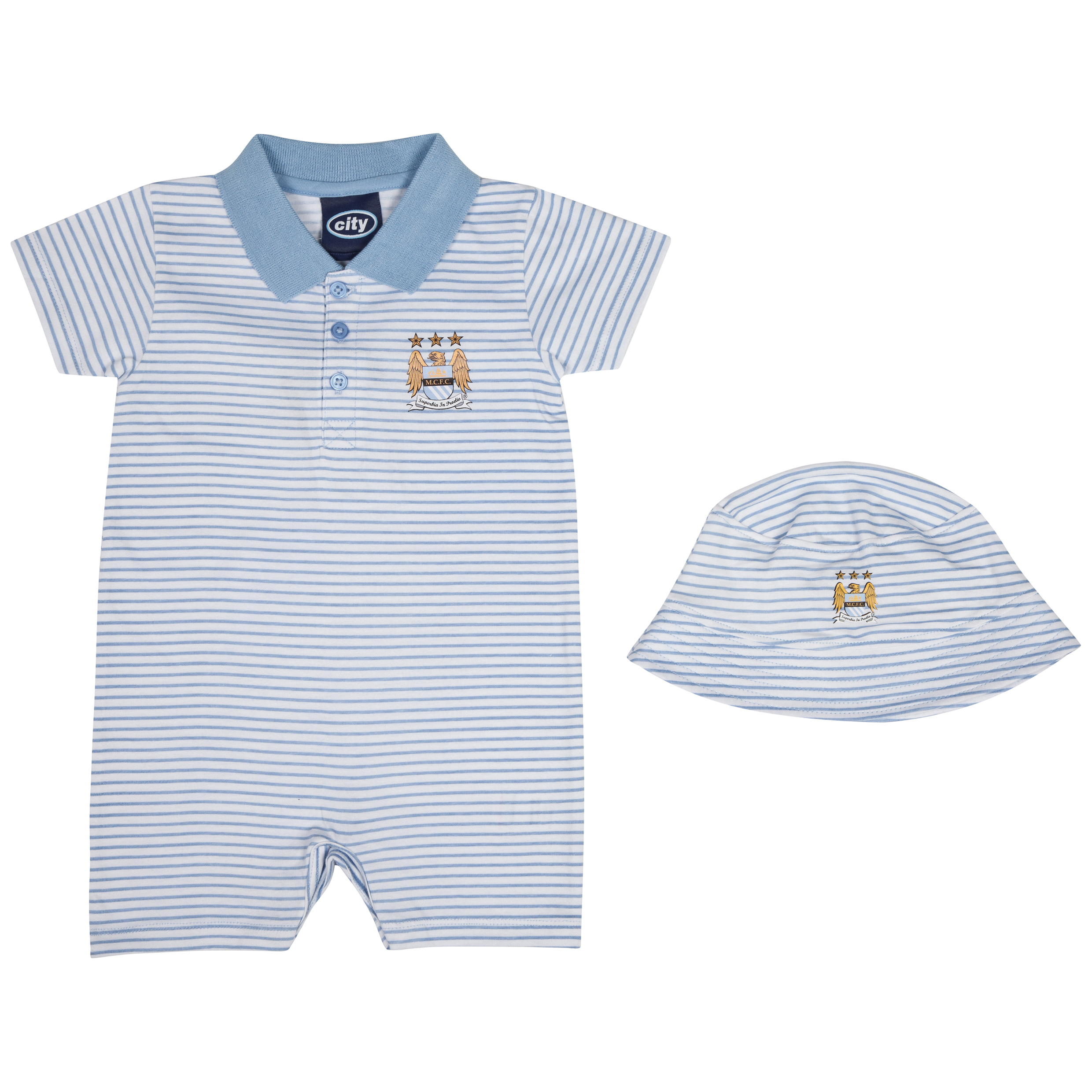 Manchester City Polo Romper and Hat - Sky/White - Baby