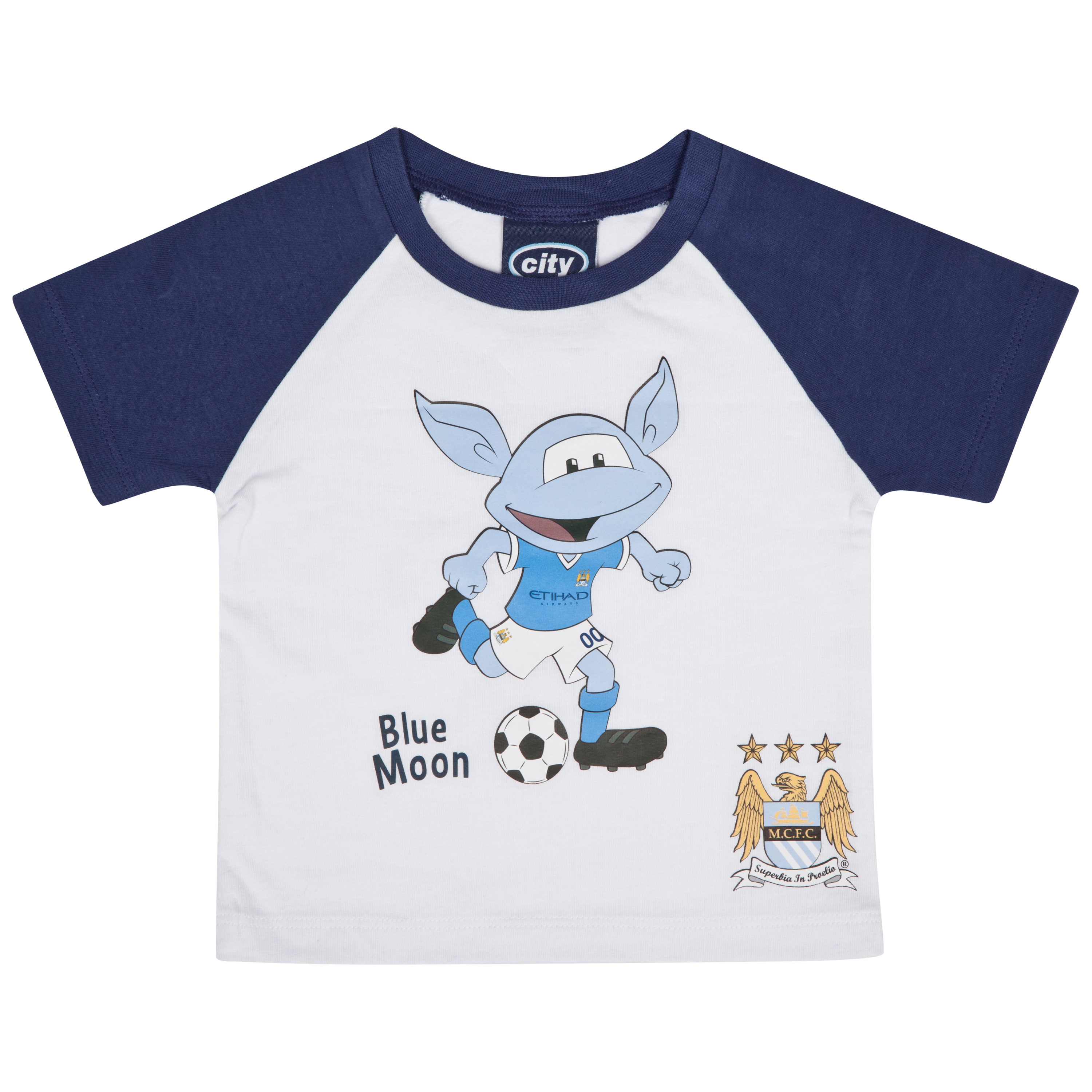 Manchester City Reverse T-Shirt - White/Navy - Baby