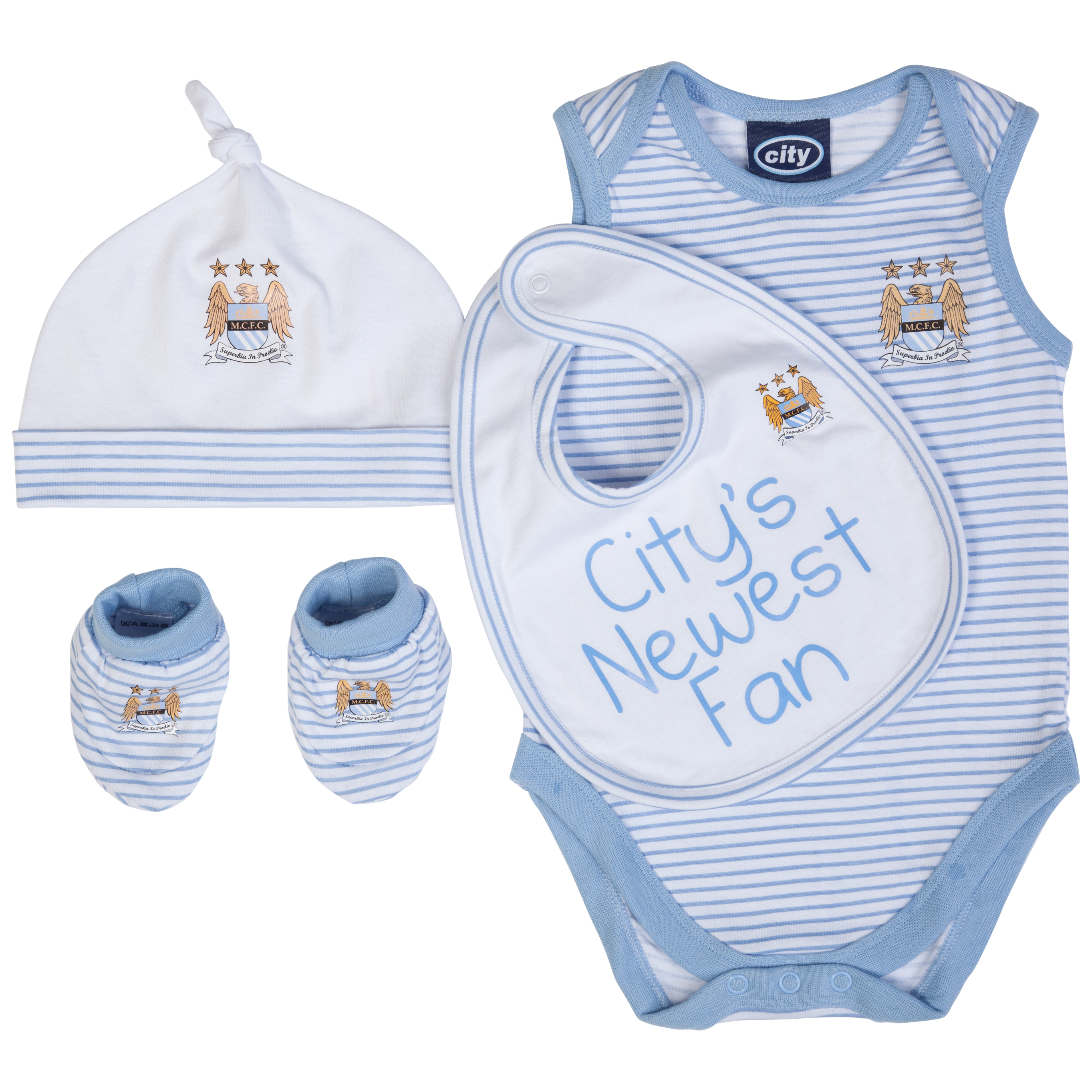 Manchester City 4 piece Gift Set - Sky/White - Baby