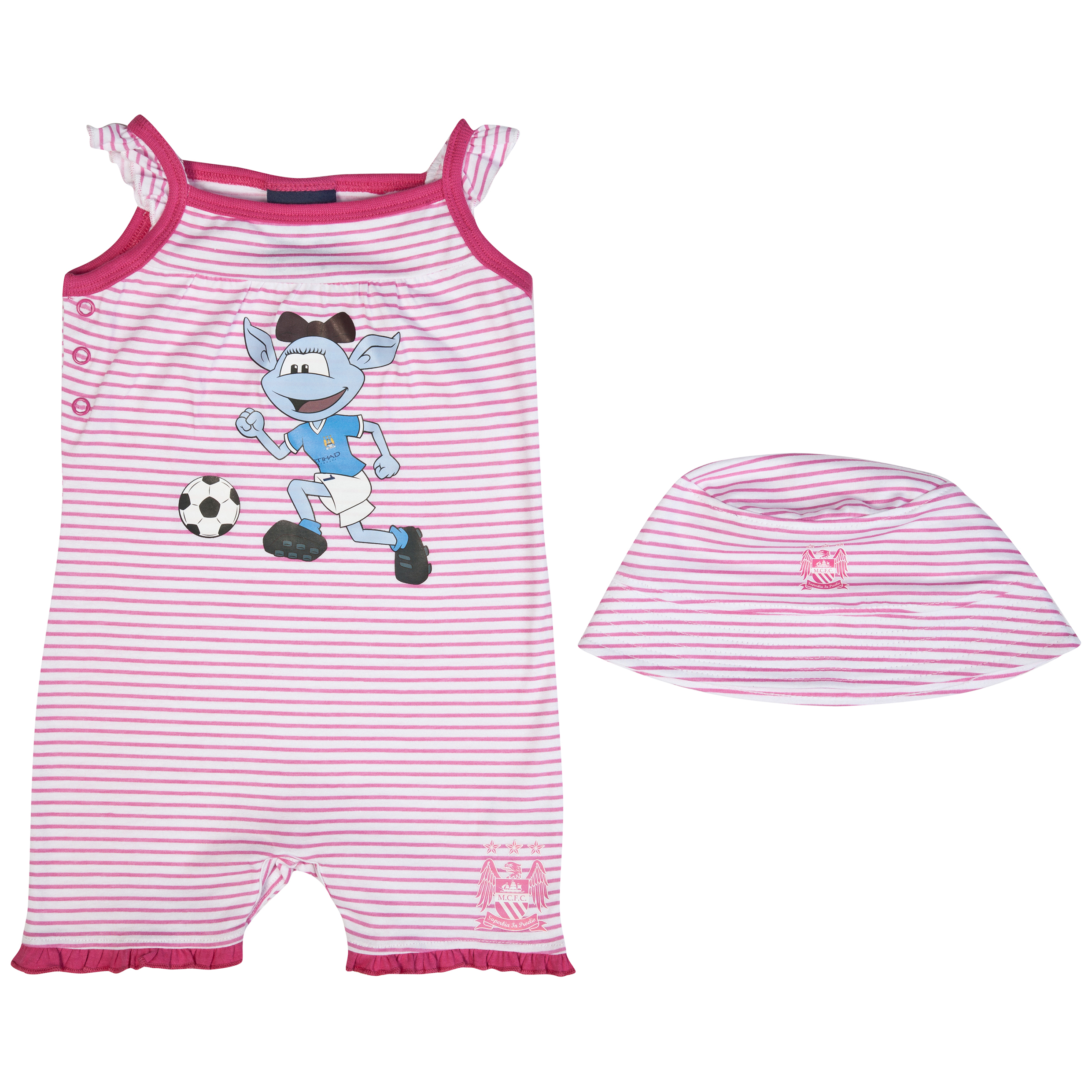 Manchester City Moonbeam Romper and Hat - Pink/White - Baby